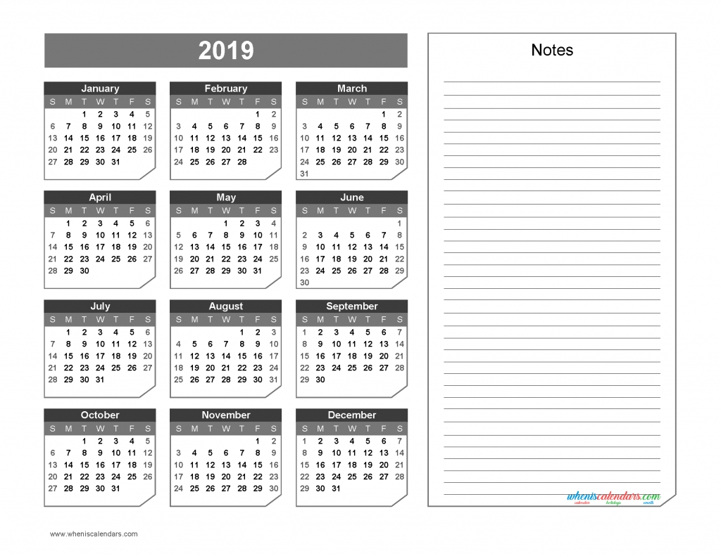 2019 Yearly Calendar With Notes Printable Chamfer Collection