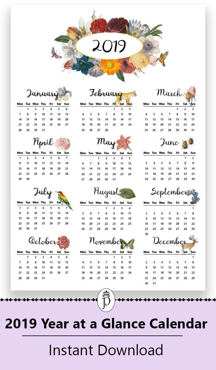 2019 Yearly Printable Wall Calendar, Botanical, Floral