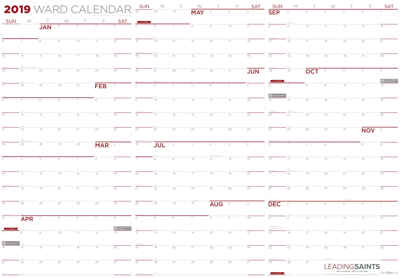 2019 Yearly Ward Calendar   Leading Saints