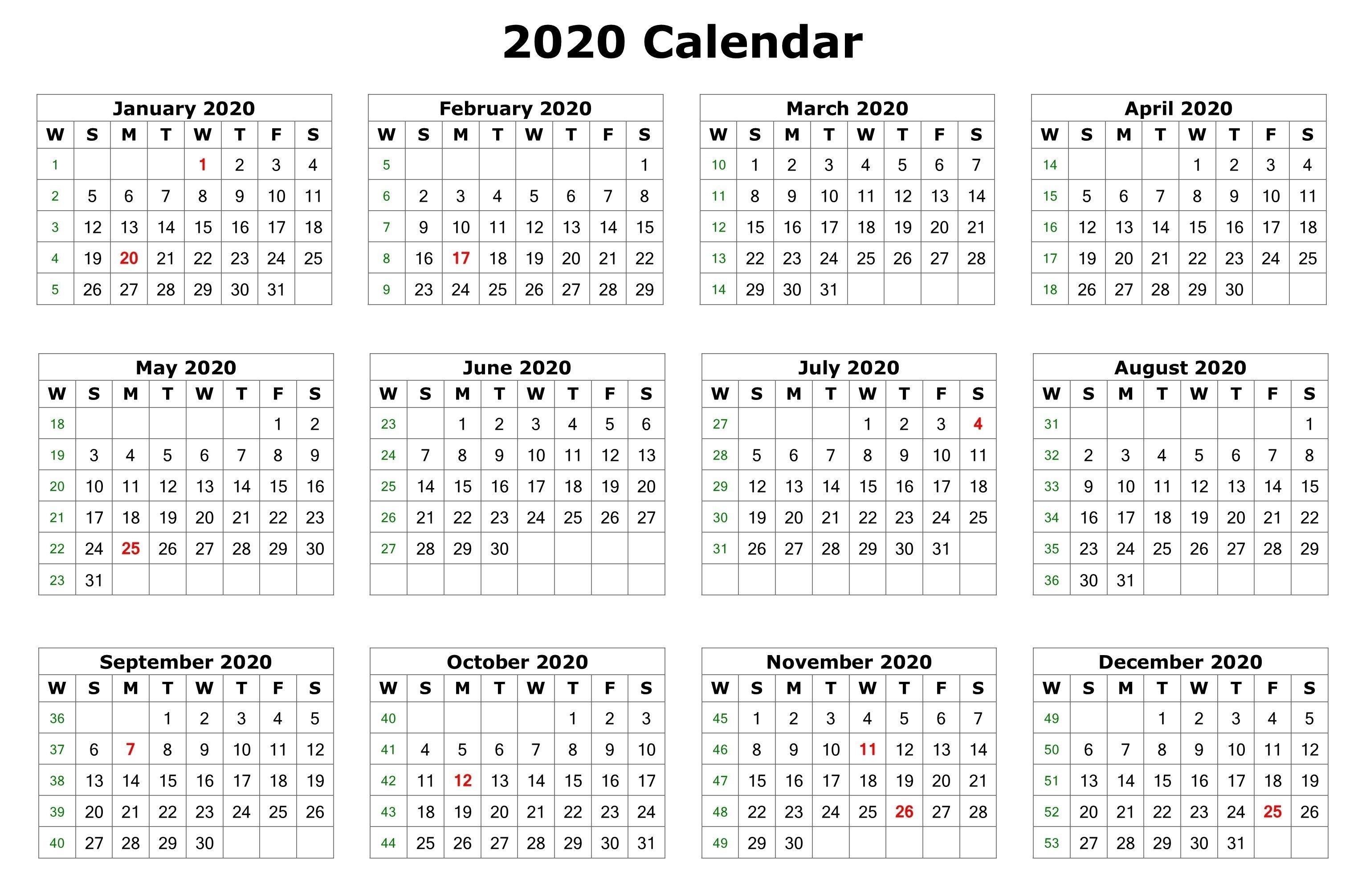 2020 12 Months Calendar Printable | Printable Calendar