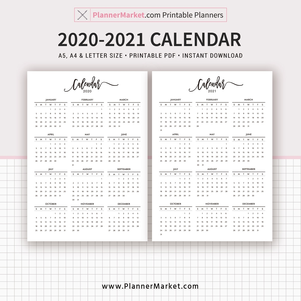 2020-2021 Calendar Printable, Year At A Glance, Filofax A5, A4, Letter  Size, Planner Template, Planner Inserts, Planner Refills, Instant Download