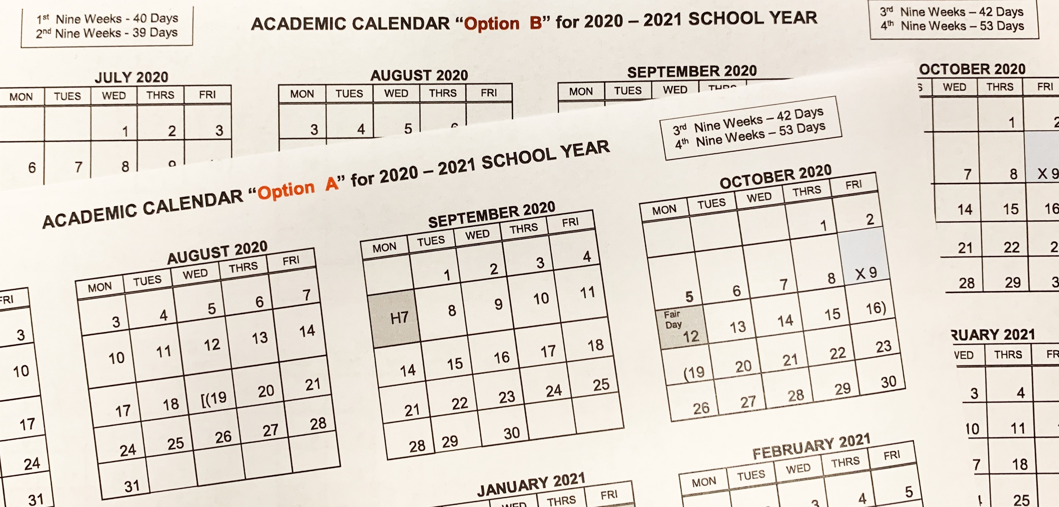 2020–2021 Student Academic Calendar Options - Richardson Isd