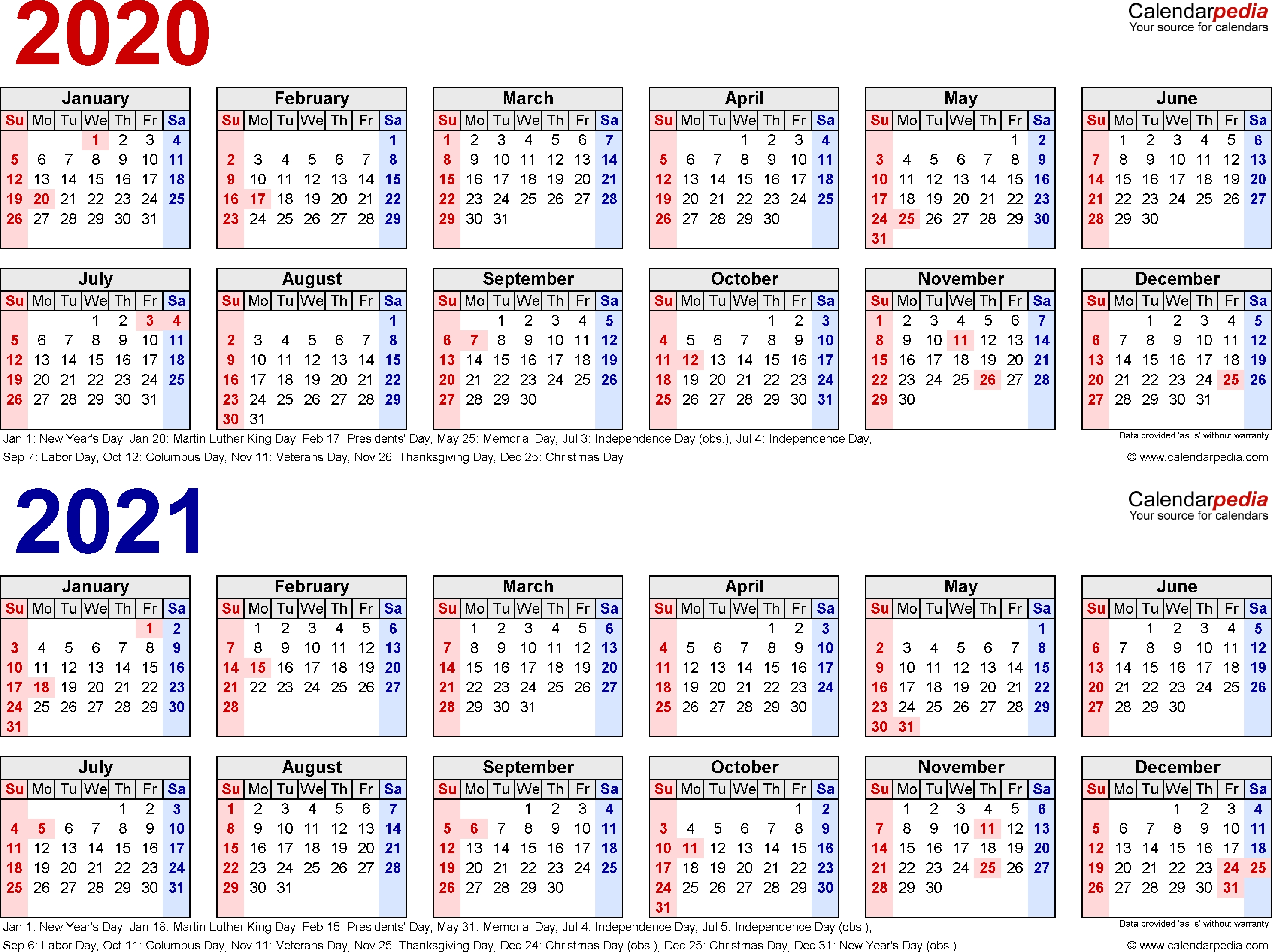 2020-2021 Two Year Calendar - Free Printable Excel Templates