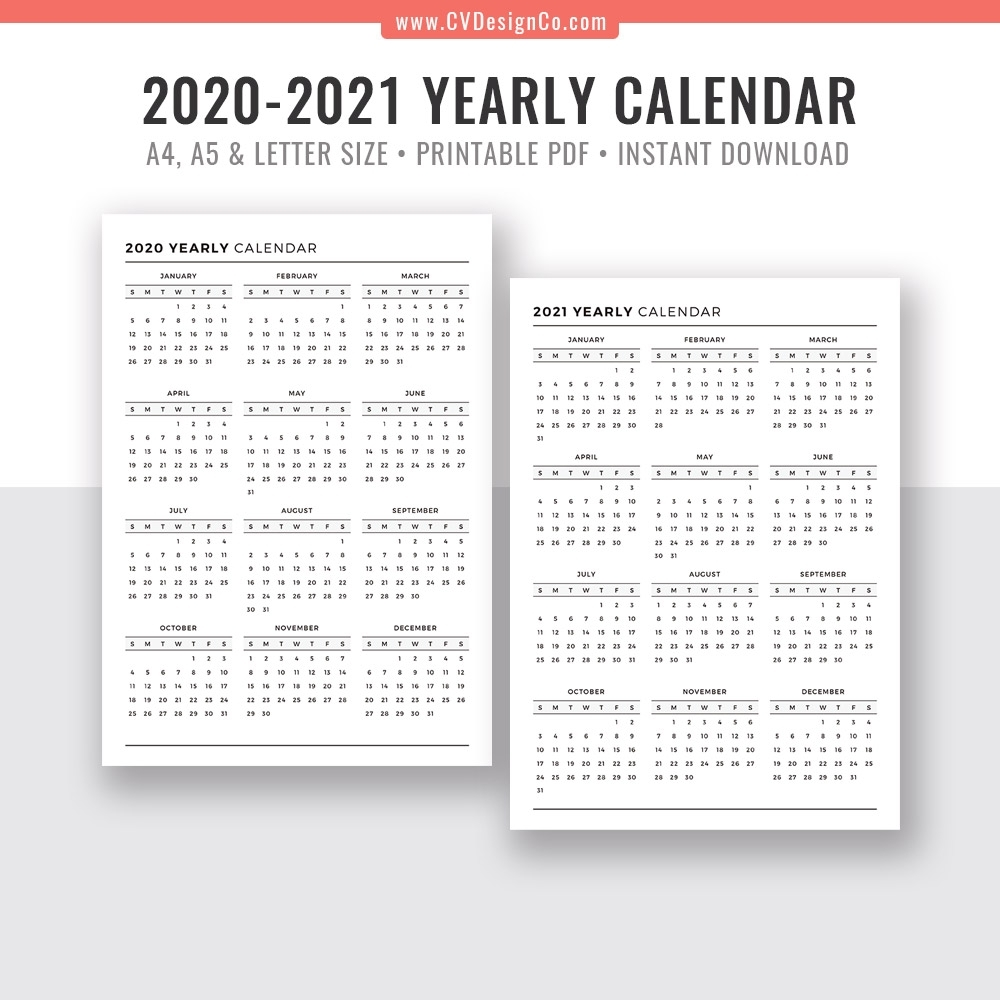 2020 - 2021 Yearly Calendar, Year At A Glance, Digital Printable Planner  Inserts, Sunday Start, Black & White, Filofax A5, A4, Letter Size