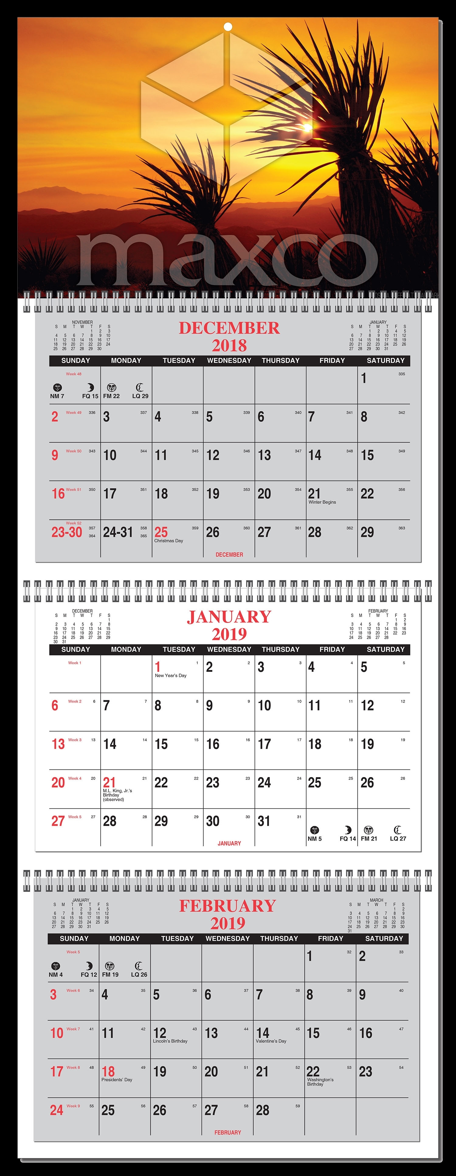 2020 3 Month Calendar At A Glance- 4 Panel W/ Numbered Weeks