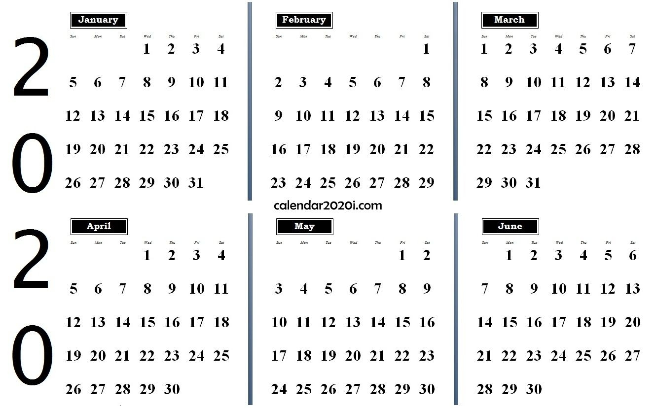 2020 6 Months Calendar From January To June | Monthly