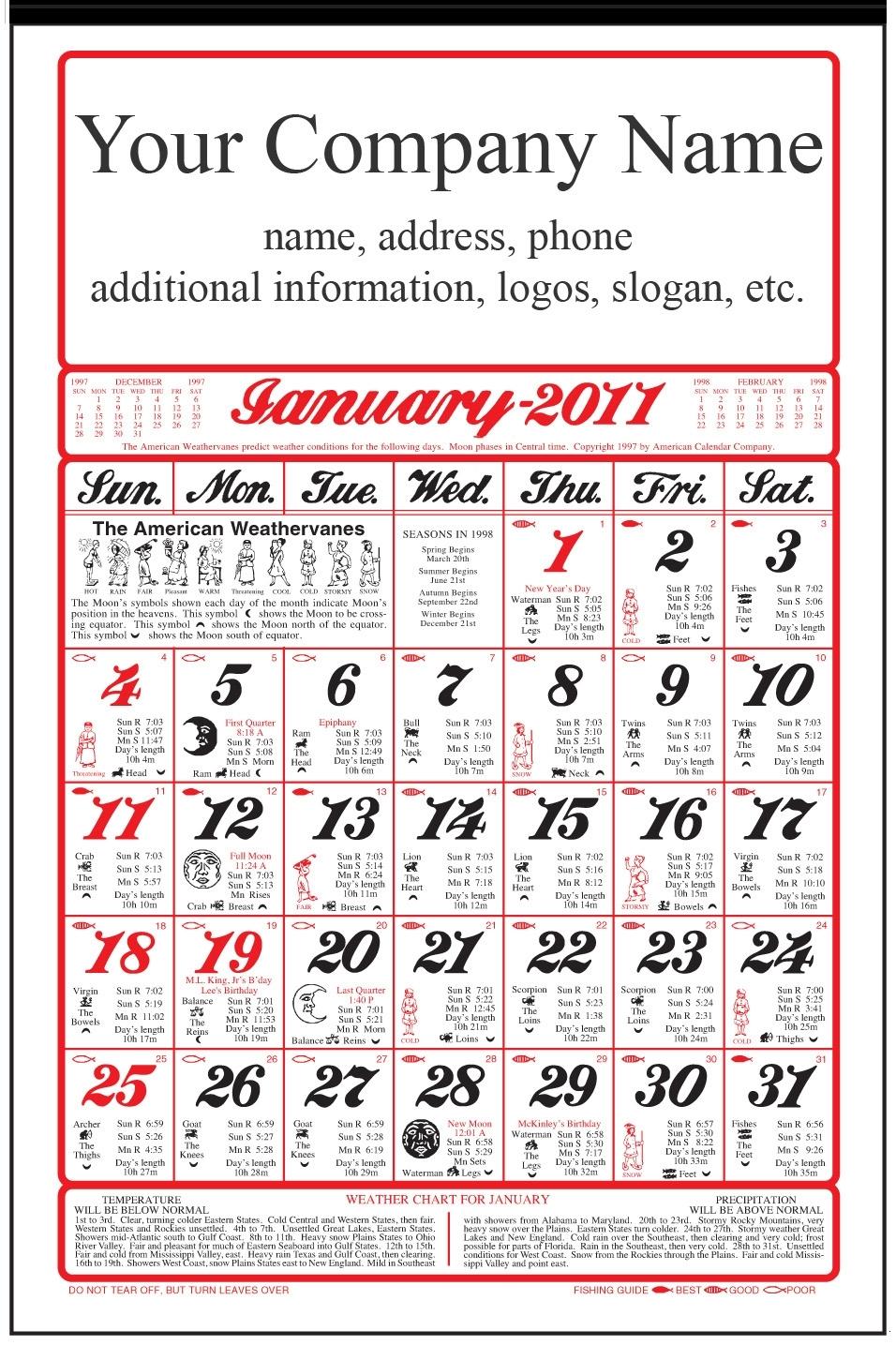 2020 American Original Almanac Calendar