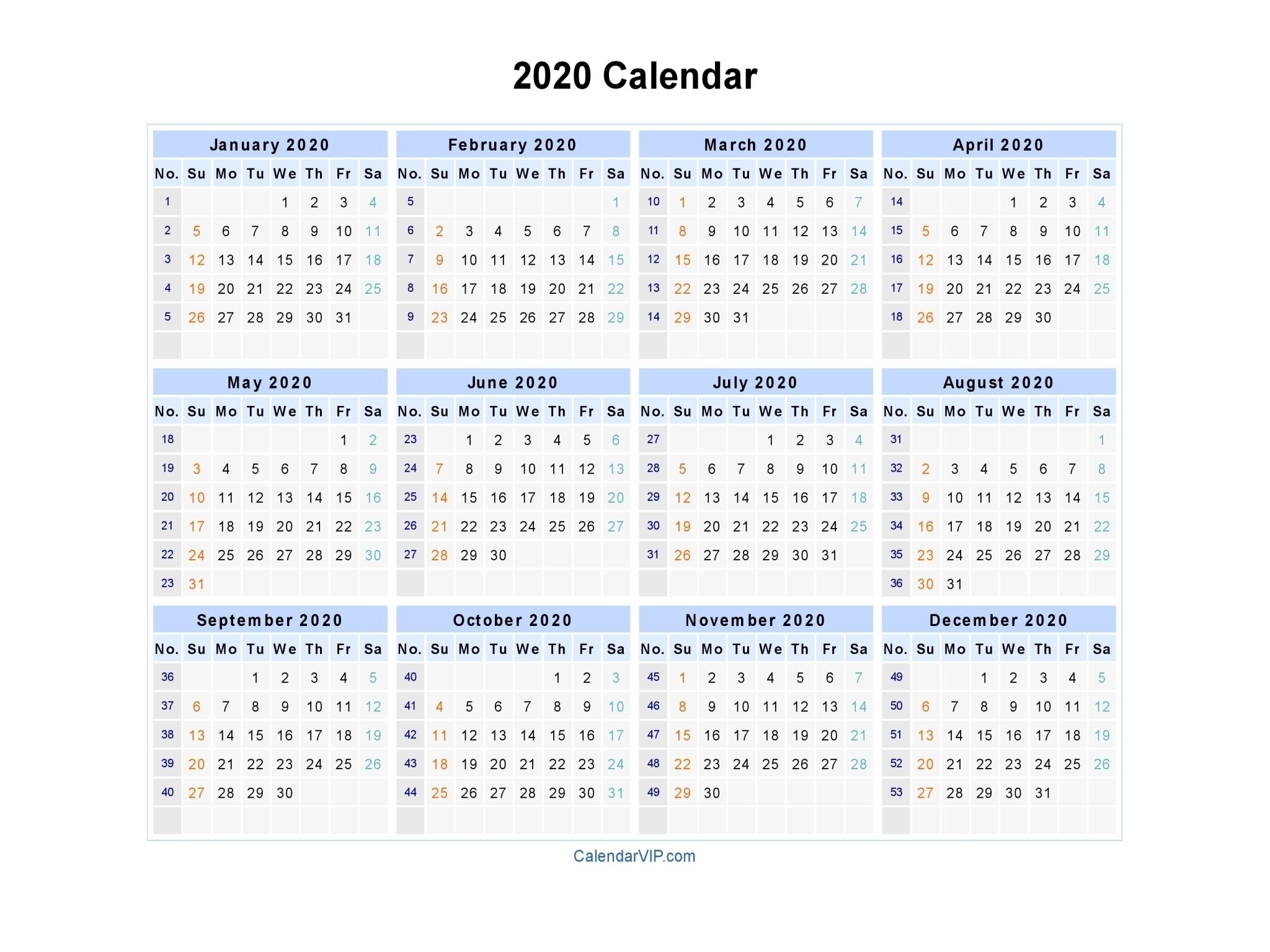 2020 Blank Calendarweeks | Monthly Printable Calender