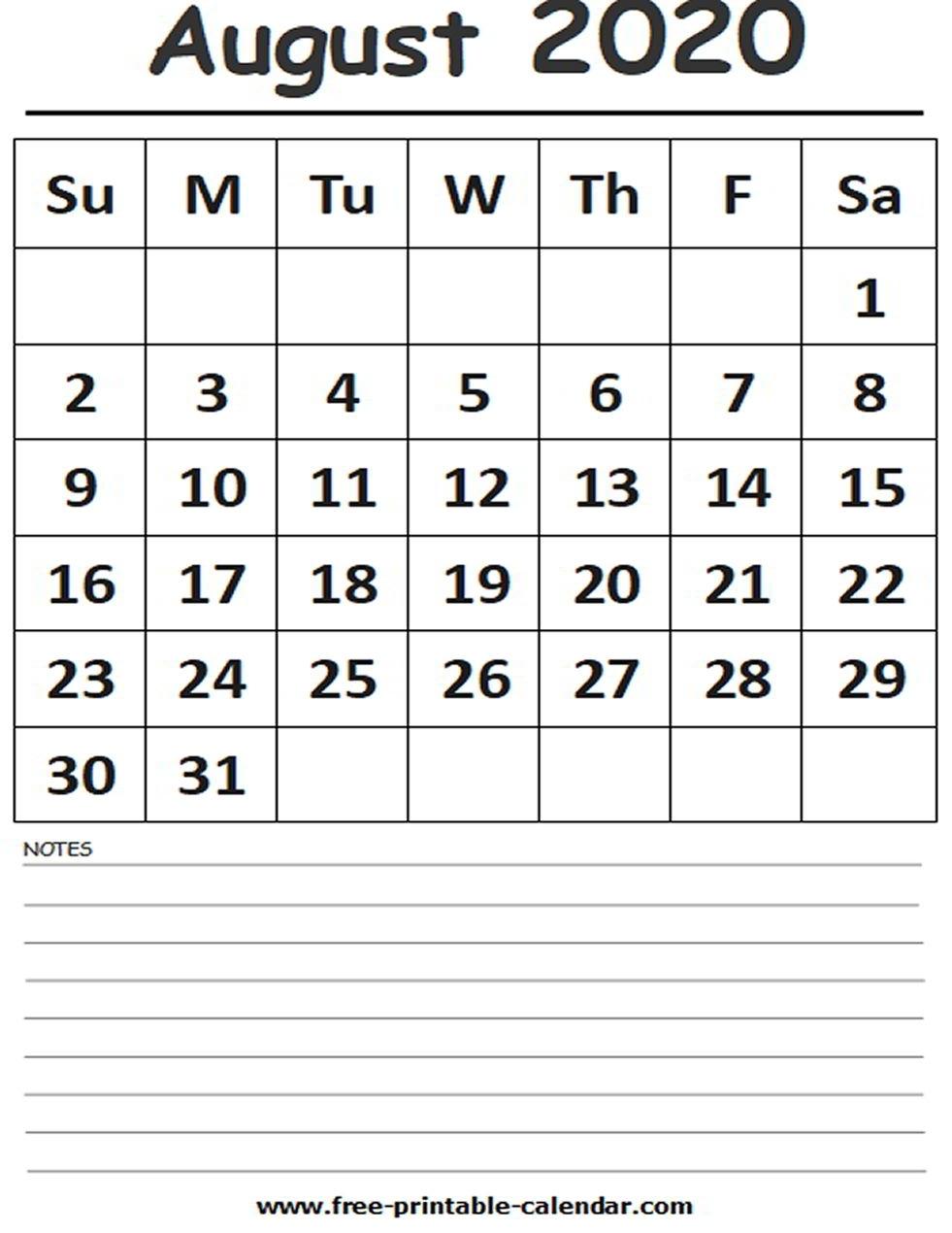 2020 Calendar August Printable - Free-Printable-Calendar