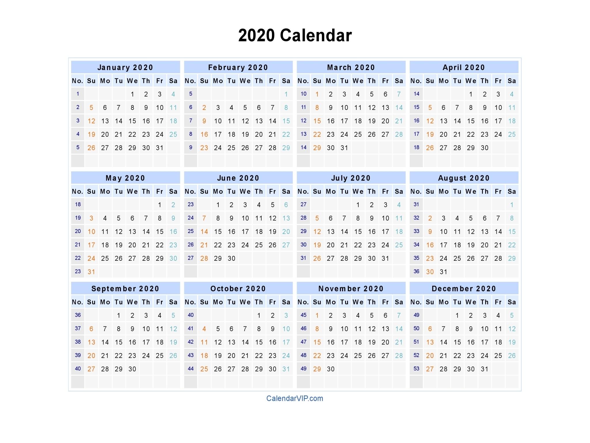 2020 Calendar - Blank Printable Calendar Template In Pdf