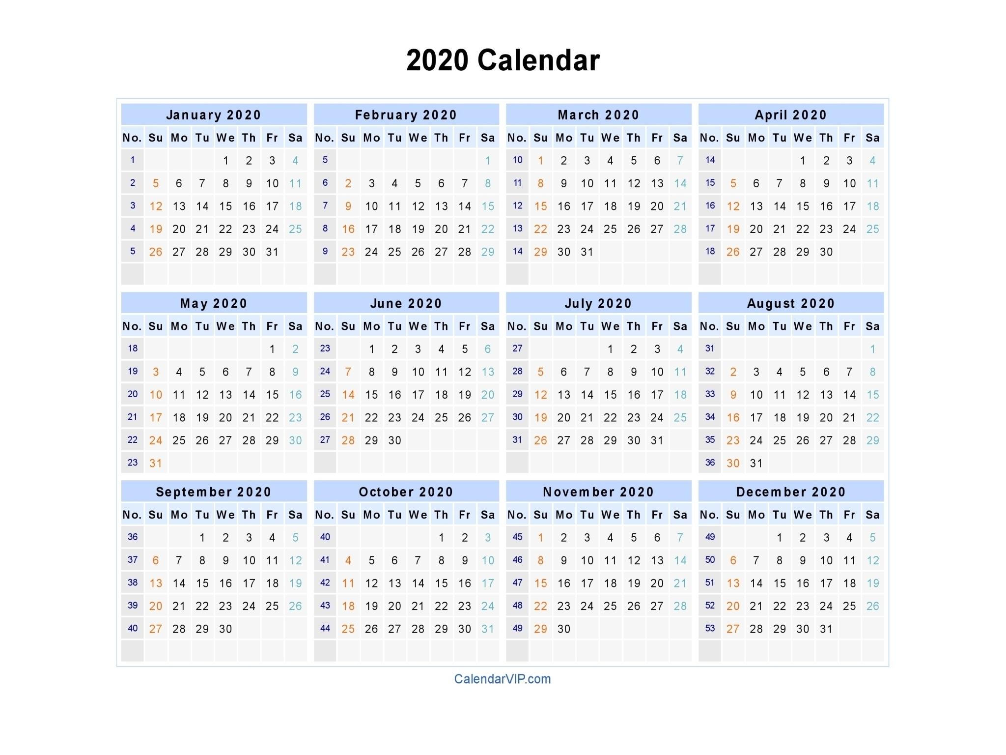 2020 Calendar – Blank Printable Calendar Template In Pdf