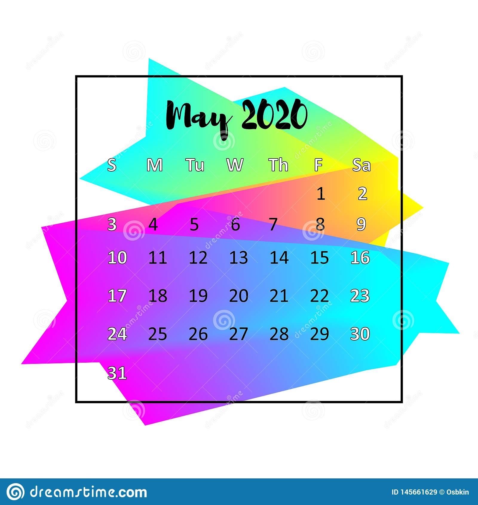 2020 Calendar Design Abstract Concept. May 2020. Stock