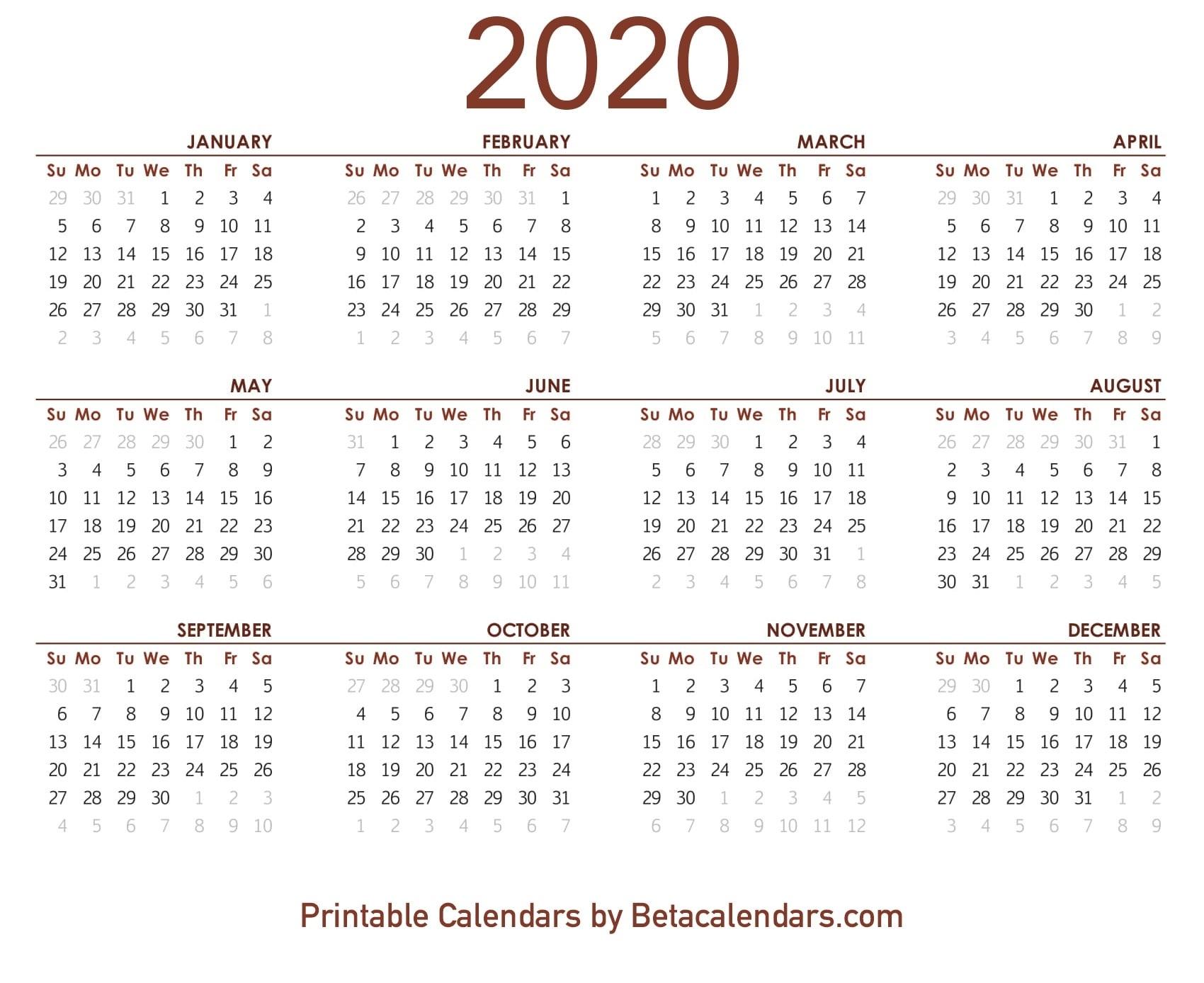 2020 Calendar - Free Printable Yearly Calendar 2020