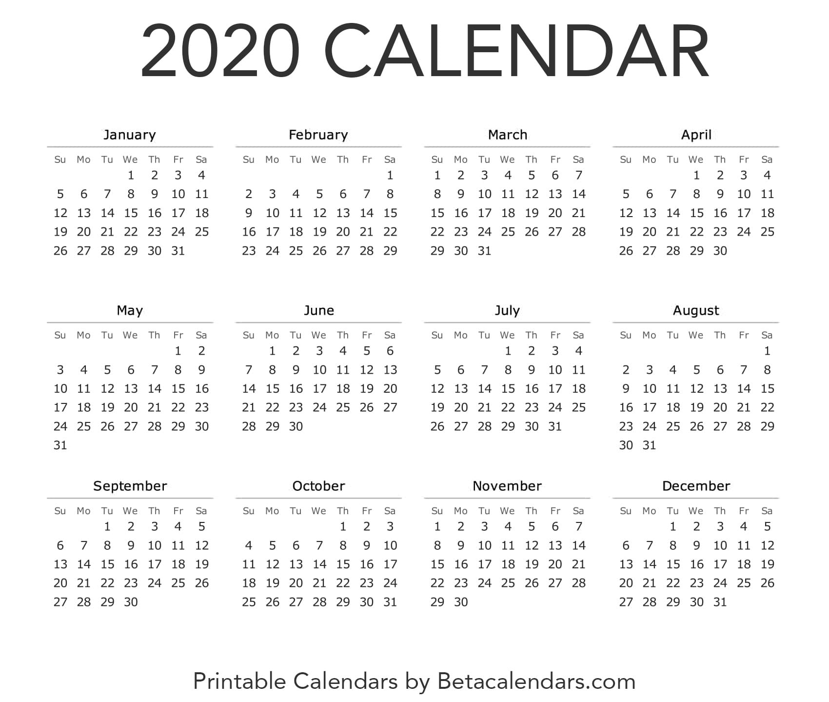 2020 Calendar - Free Printable Yearly Calendar 2020
