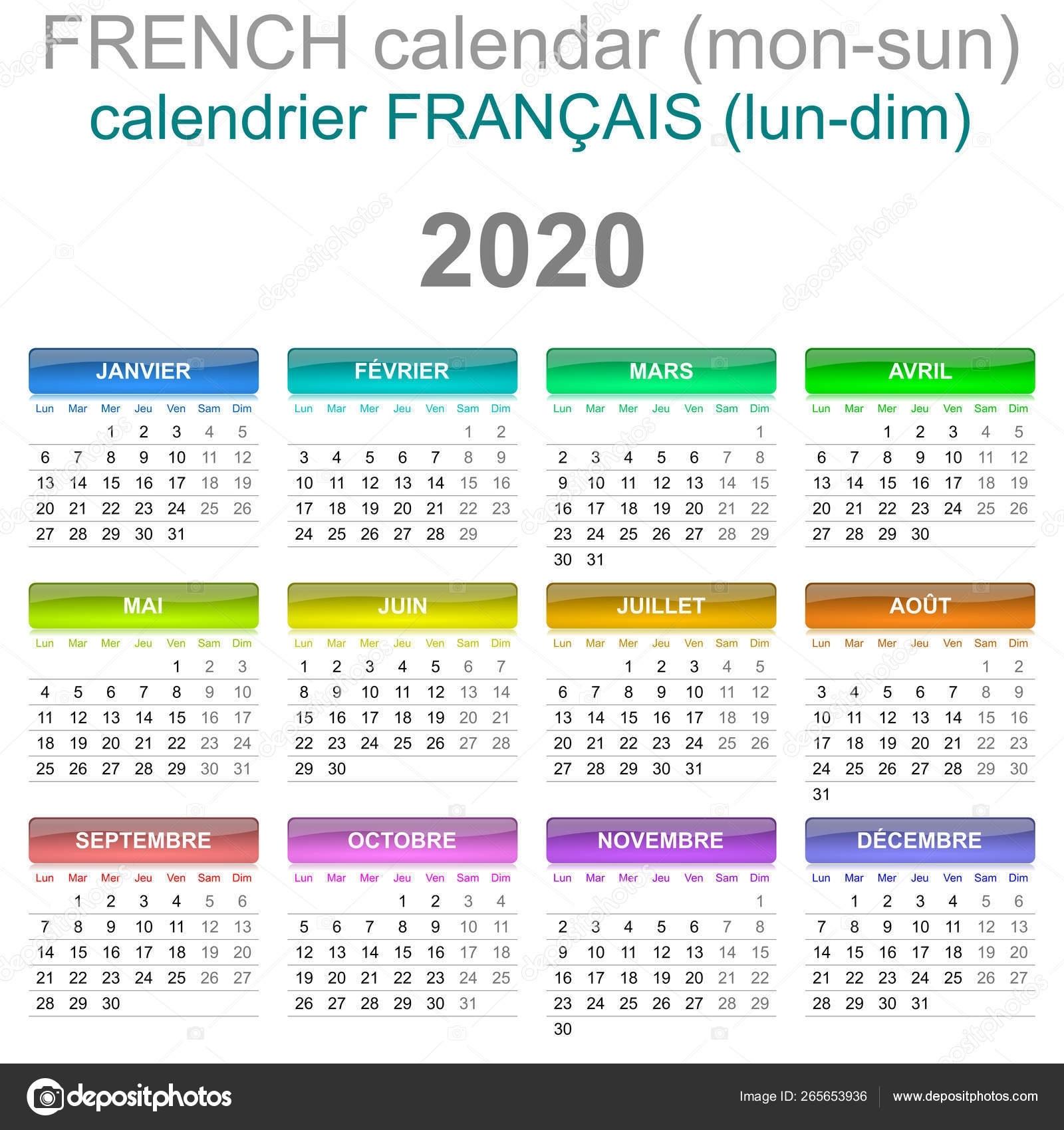 2020 Calendar French Language Monday To Sunday — Stock Photo