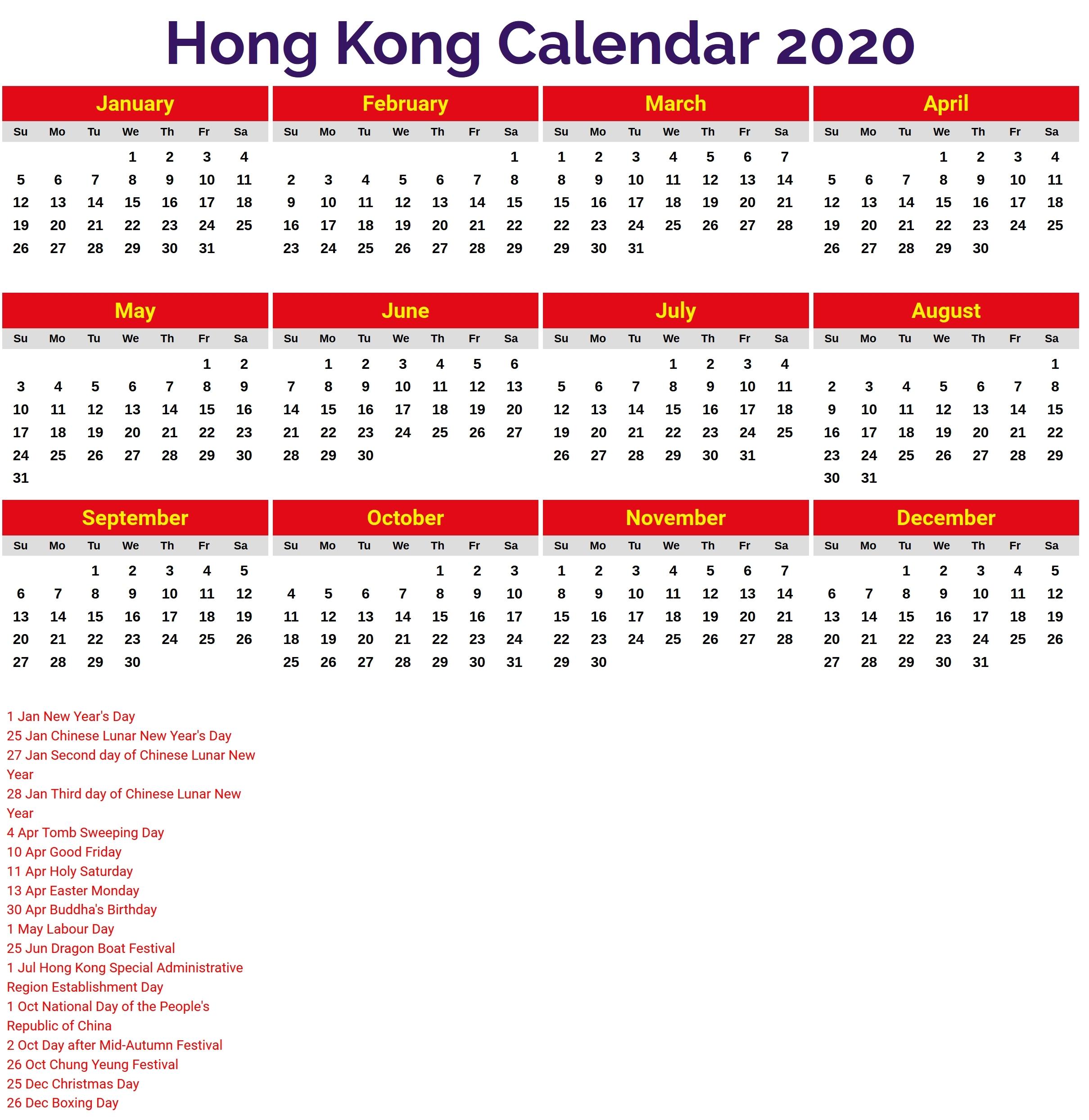 2020 Calendar Hong Kong – Printable Year Calendar