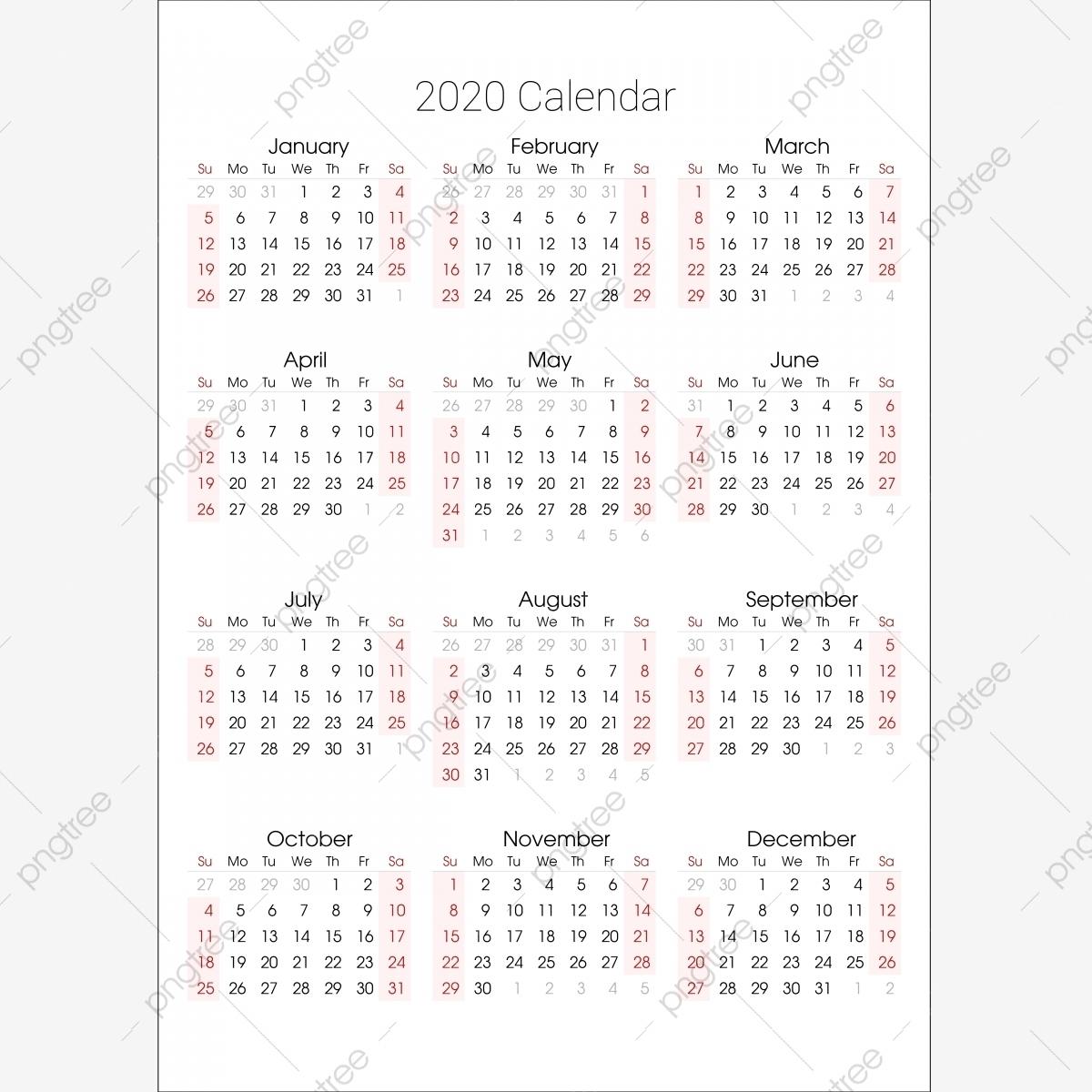 2020 Calendar Illustrator File, 2020, Calander, Calander