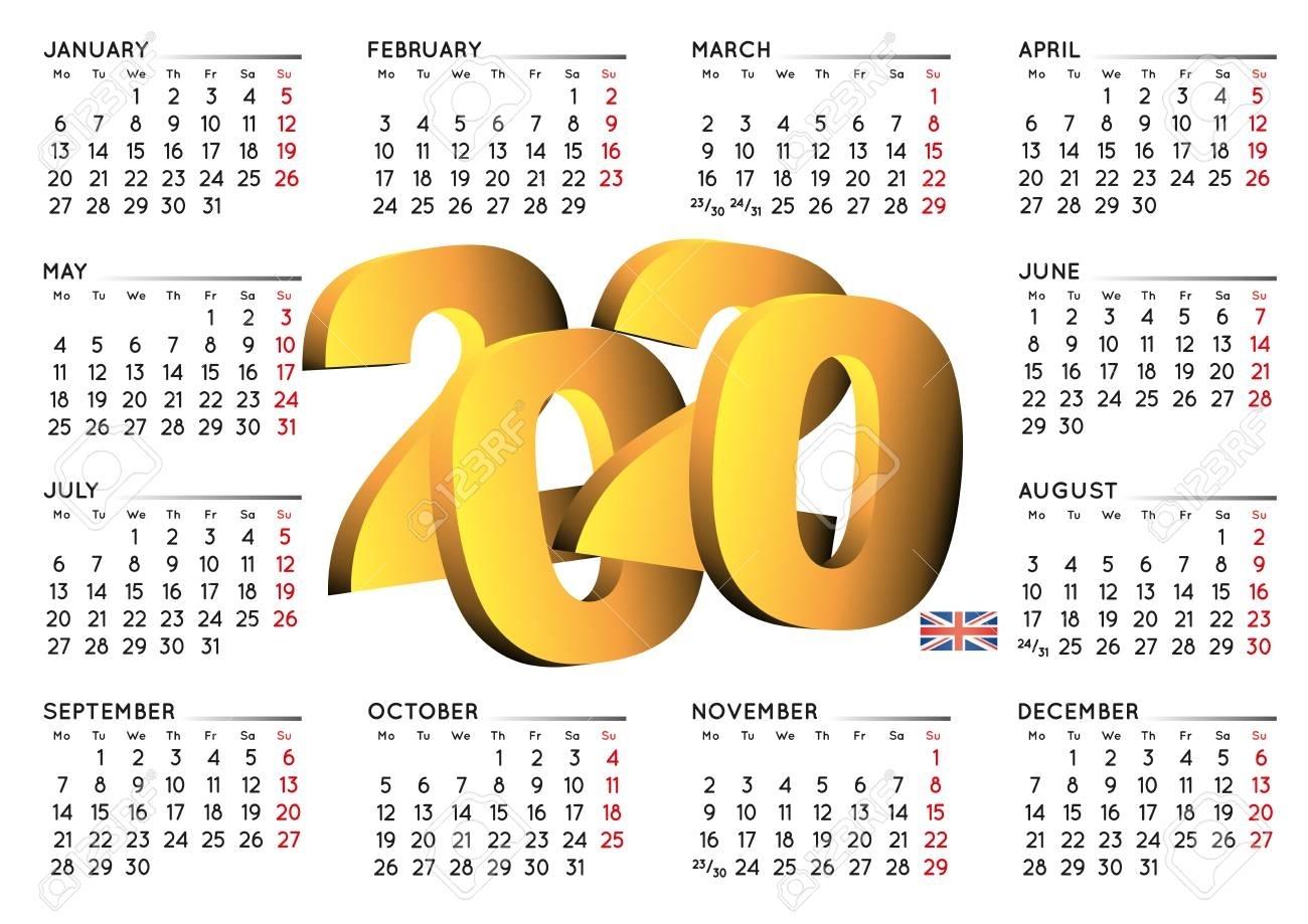 2020 Calendar In English Uk. Year 2020 Calendar. Calendar 2020