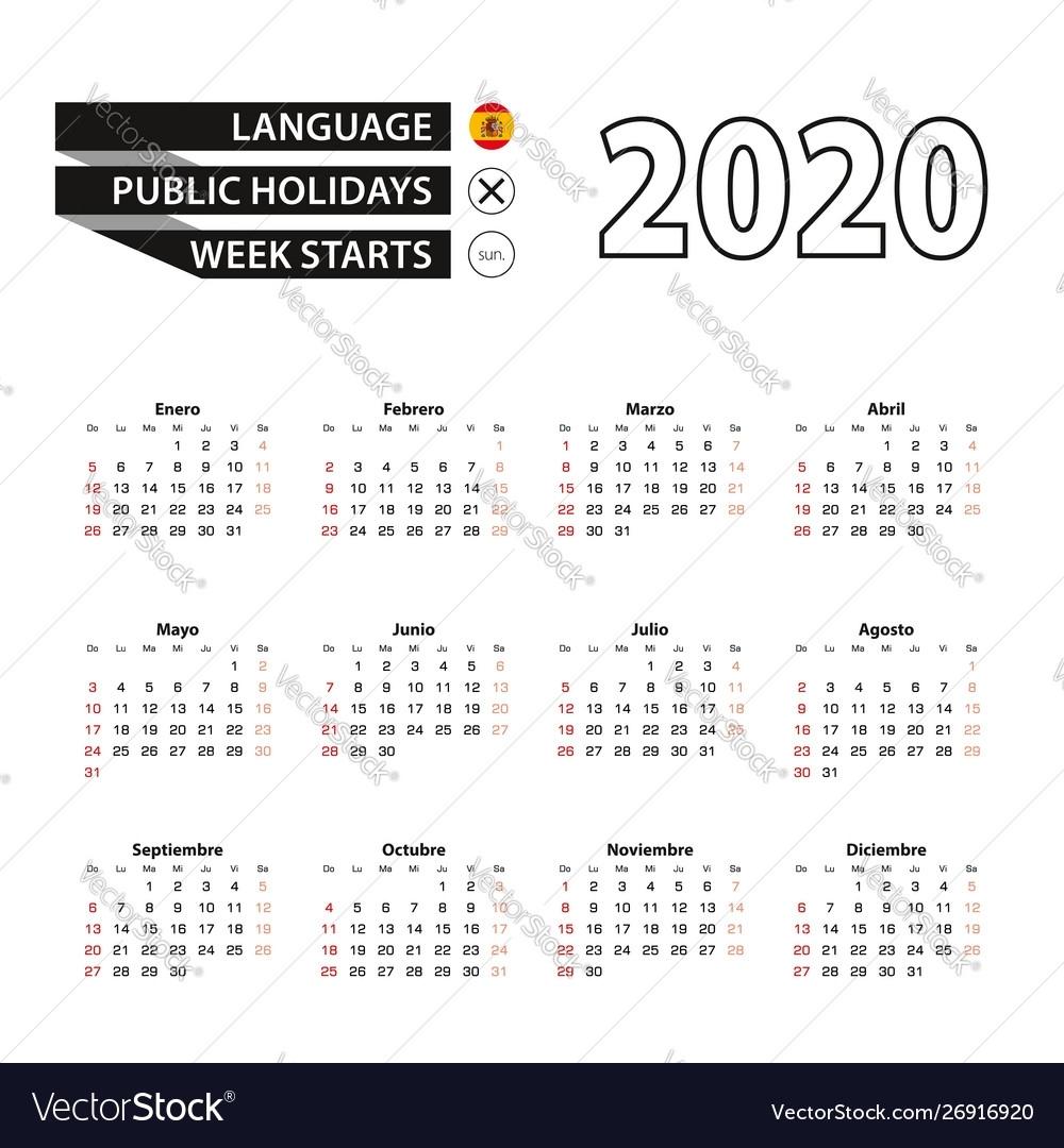 2020 Calendar In Spanish Language Week Starts