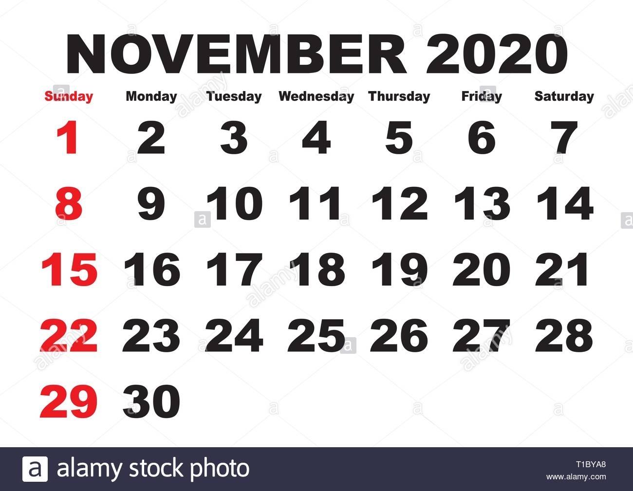 2020 Calendar November Month. Vector Printable Calendar