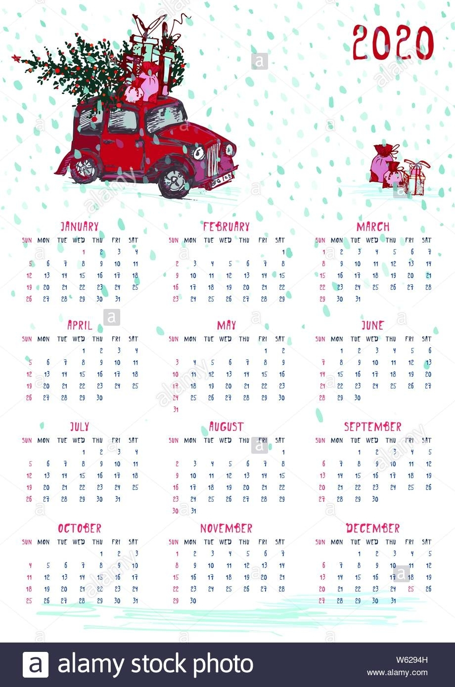 2020 Calendar Planner Whith Red Christmas Truck, New Year