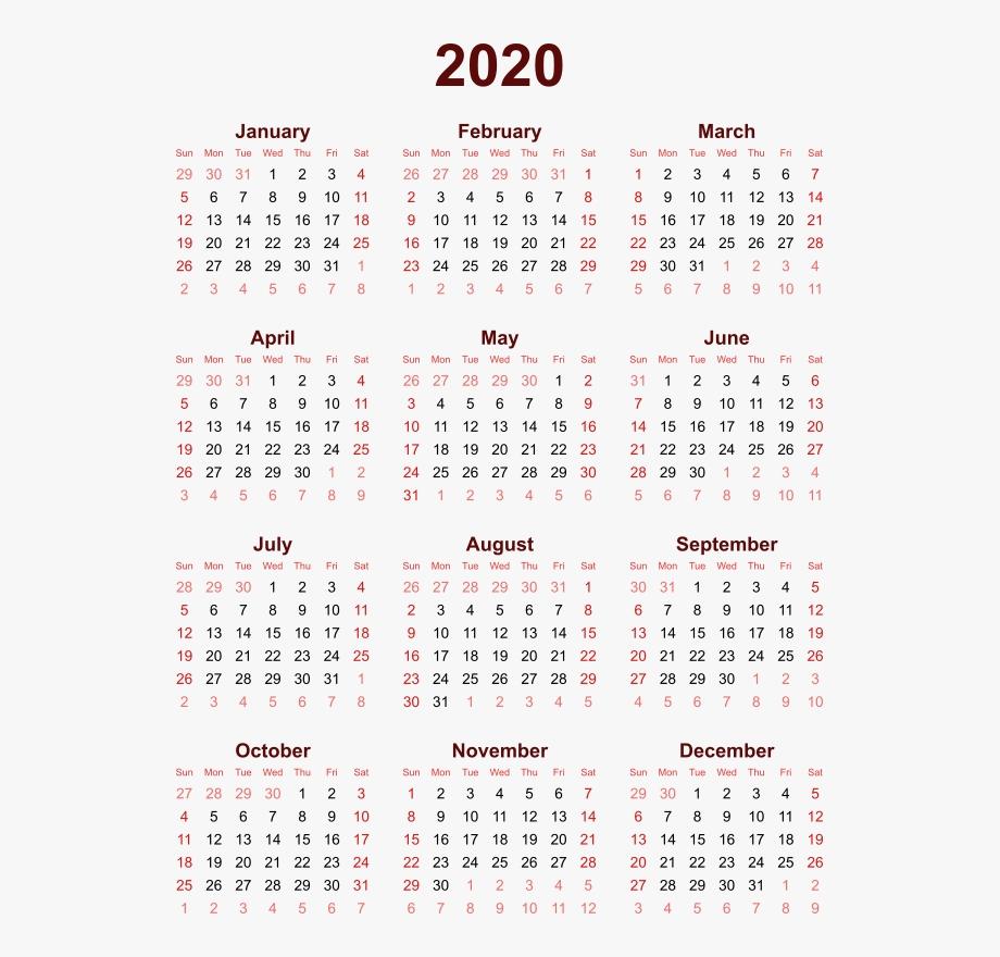2020 Calendar Png High Quality Image - 2018 Calendar