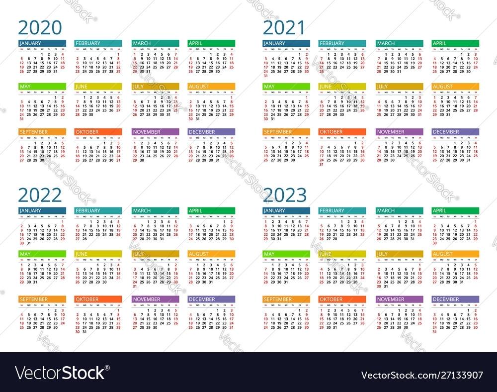 2020 Calendar Print Template Week Starts Sunday