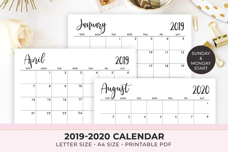 2020 Calendar Printable , 2019-2020 Calendar Template , Monthly Calendar,  2019 Monthly Planner , Instant Download