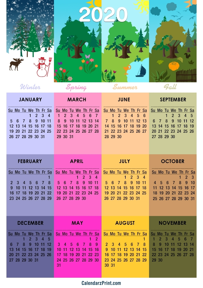 2020 Calendar – Printable Free – 4 Seasons Calendar – Sunday