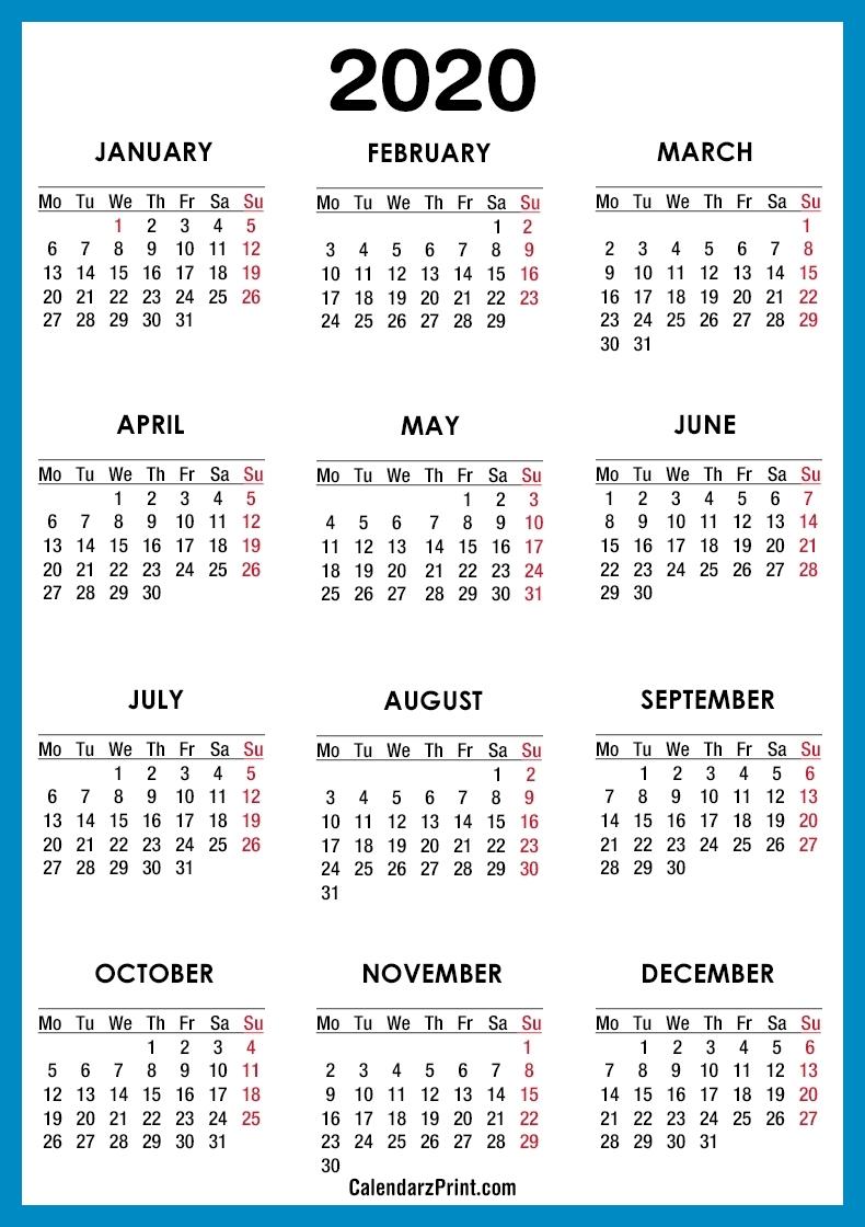 2020 Calendar – Printable Free – Blue – Monday Start