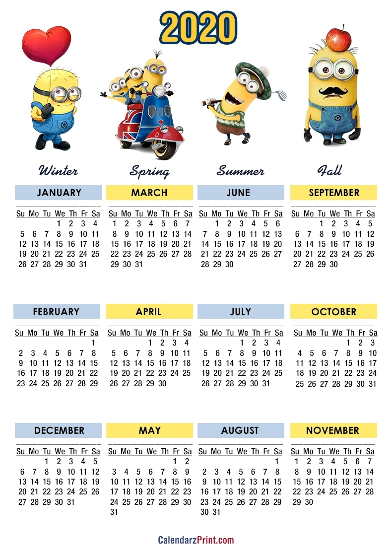 2020 Calendar – Printable Free – Minions Calendars – Sunday