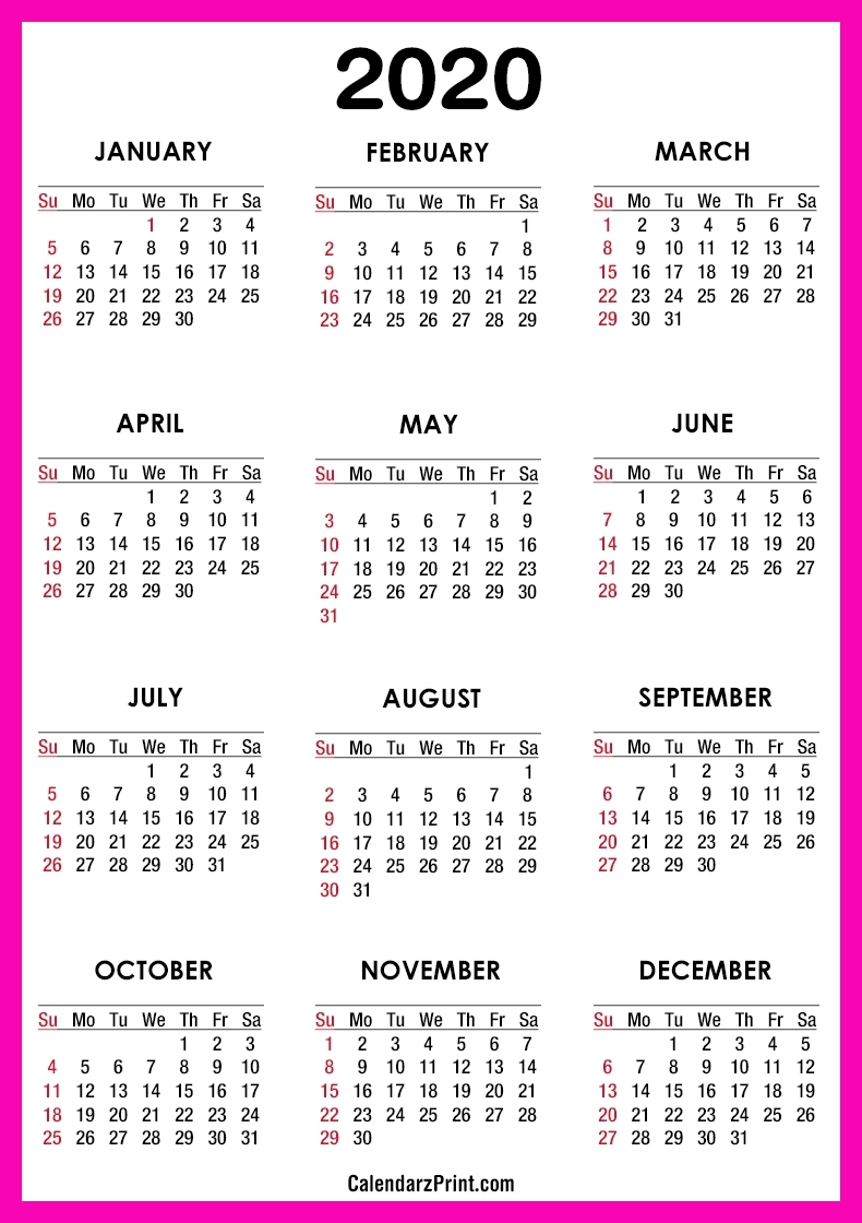 2020 Calendar – Printable Free – Pink – Sunday Start