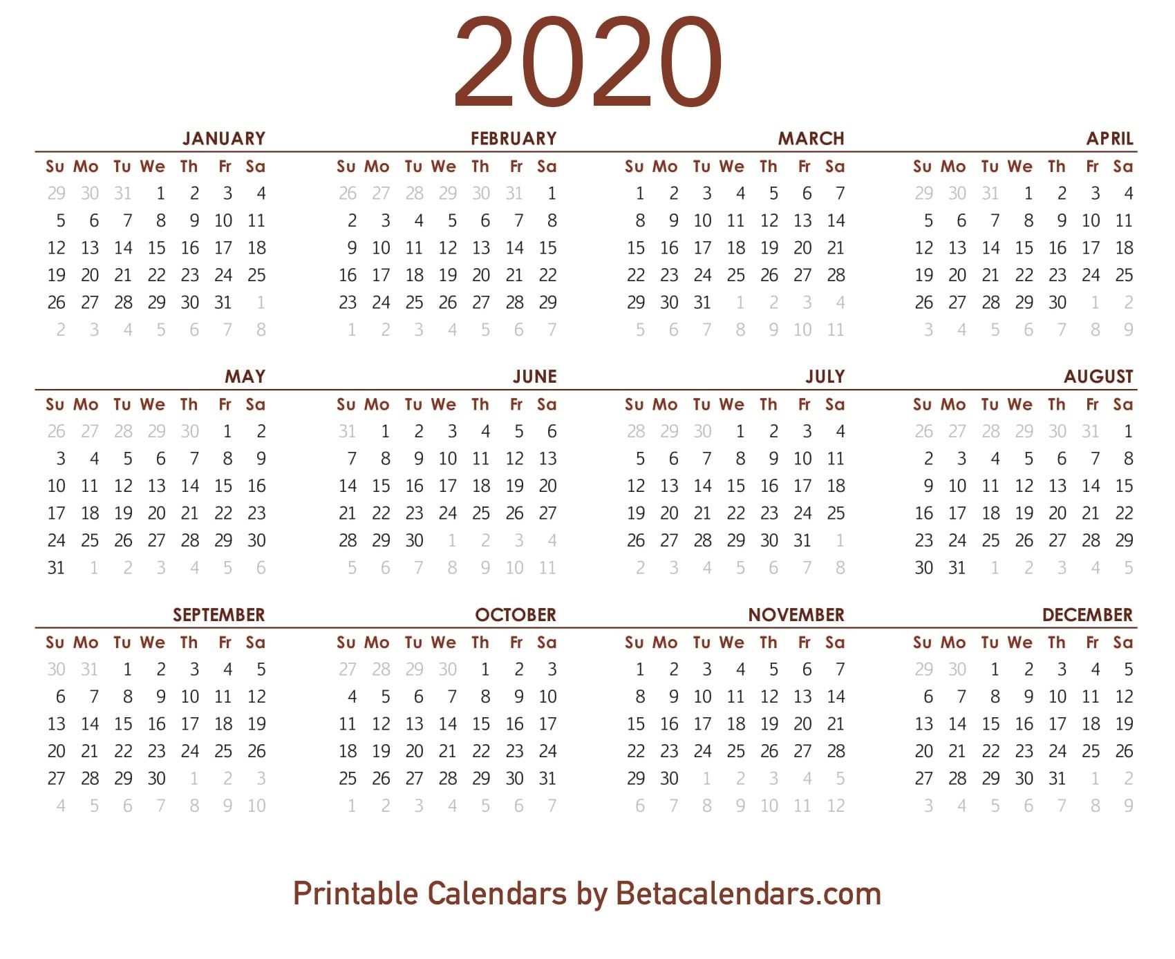 2020 Calendar Printable | Printable Yearly Calendar