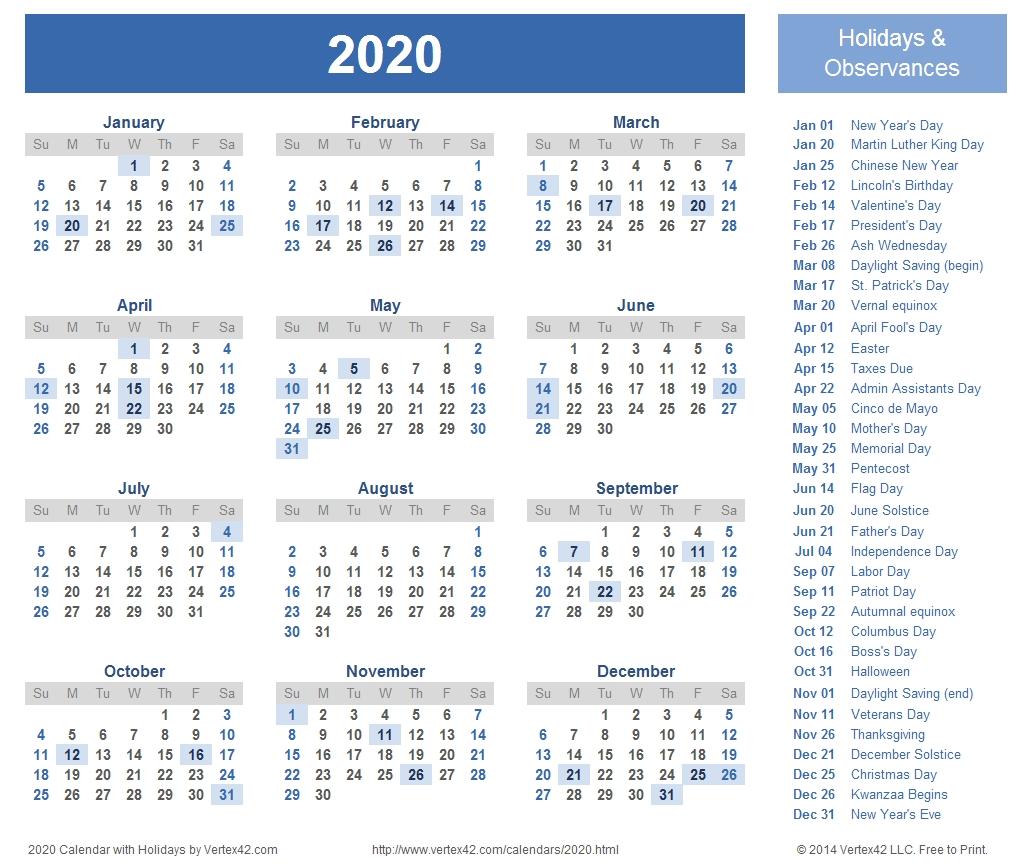 2020 Calendar Prints For Planning! | Printable Calendar
