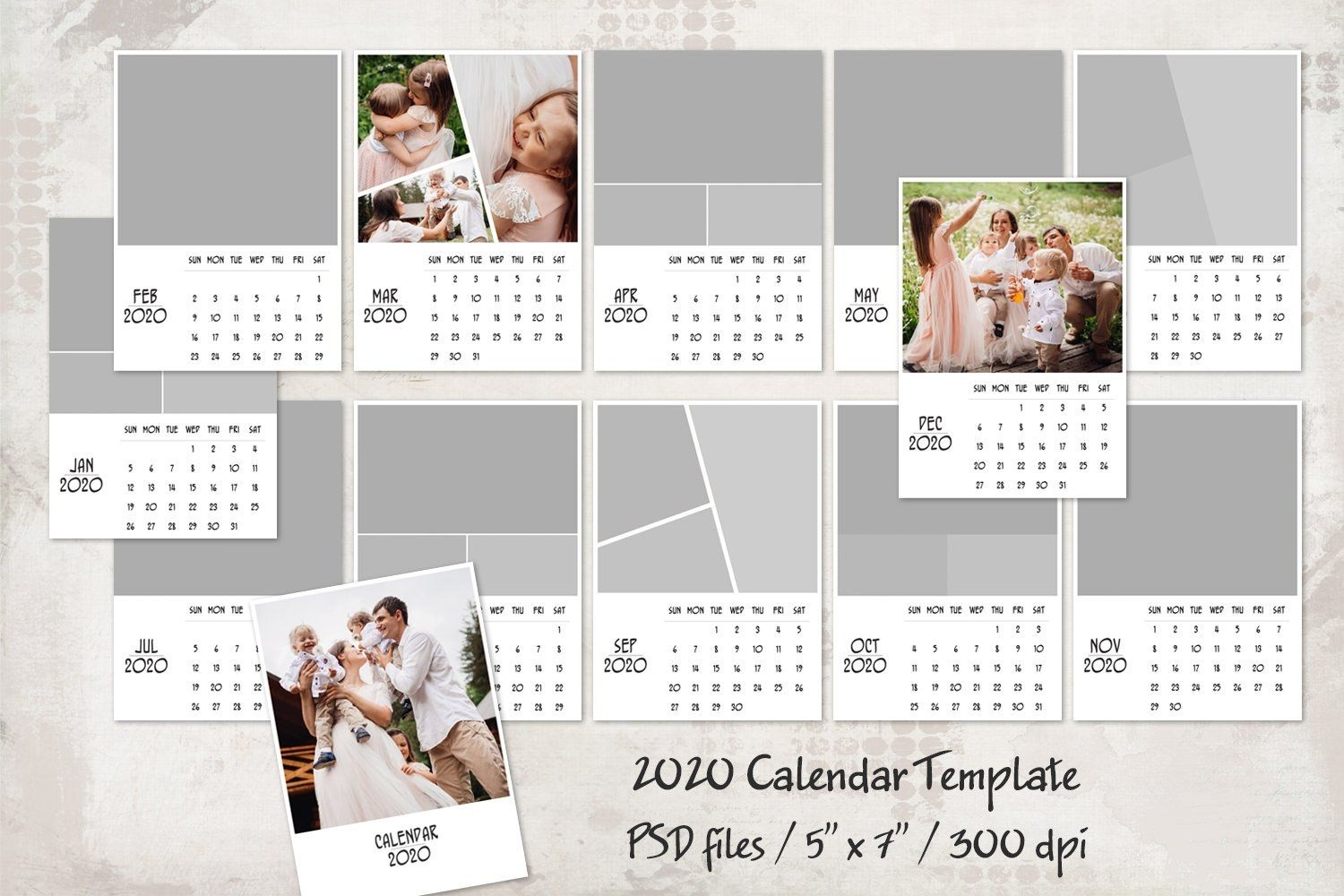 "2020 Calendar Template 5"" X 7"" , #ad, #instructions#choices"