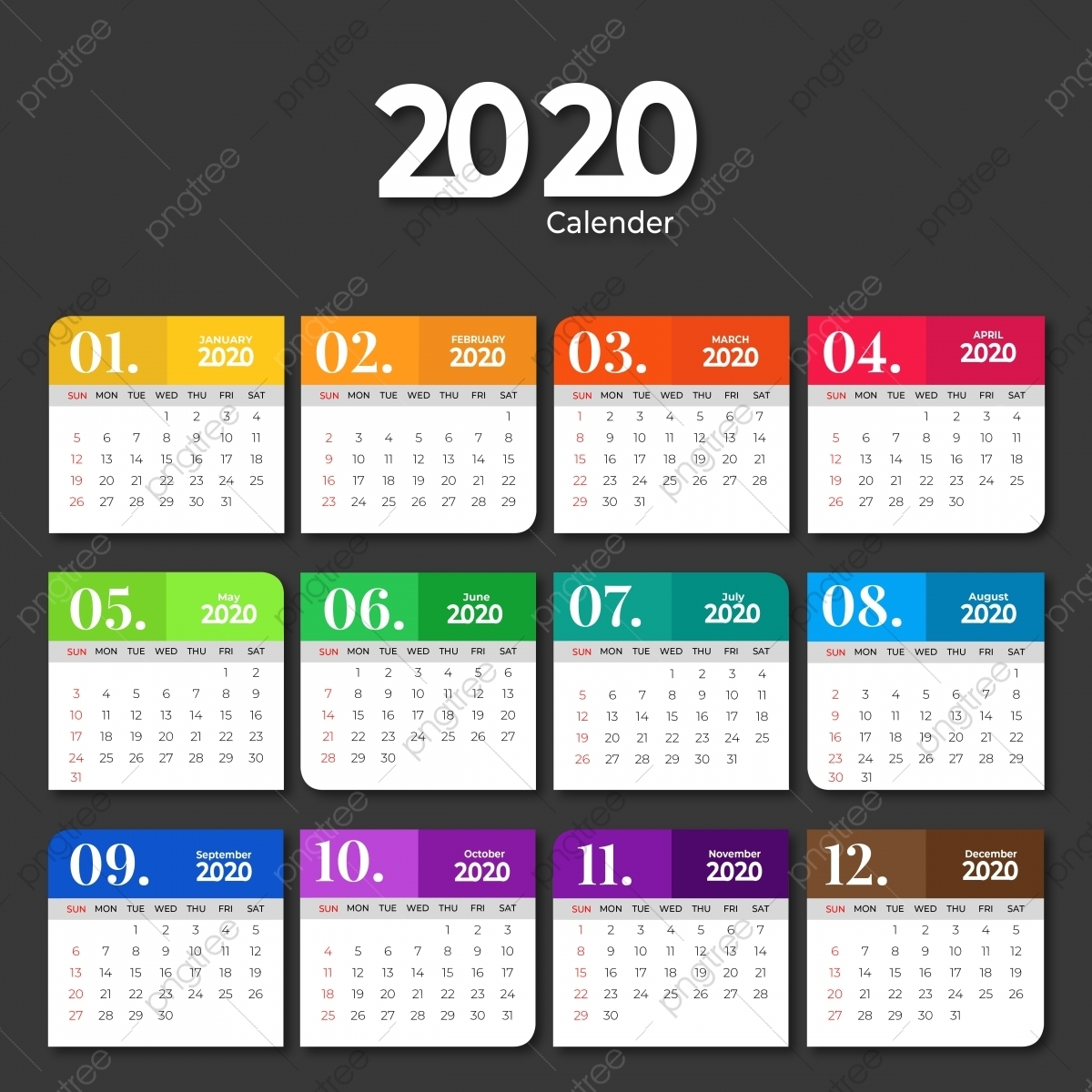 2020 Calendar Template Design With Solid Colors, 2020