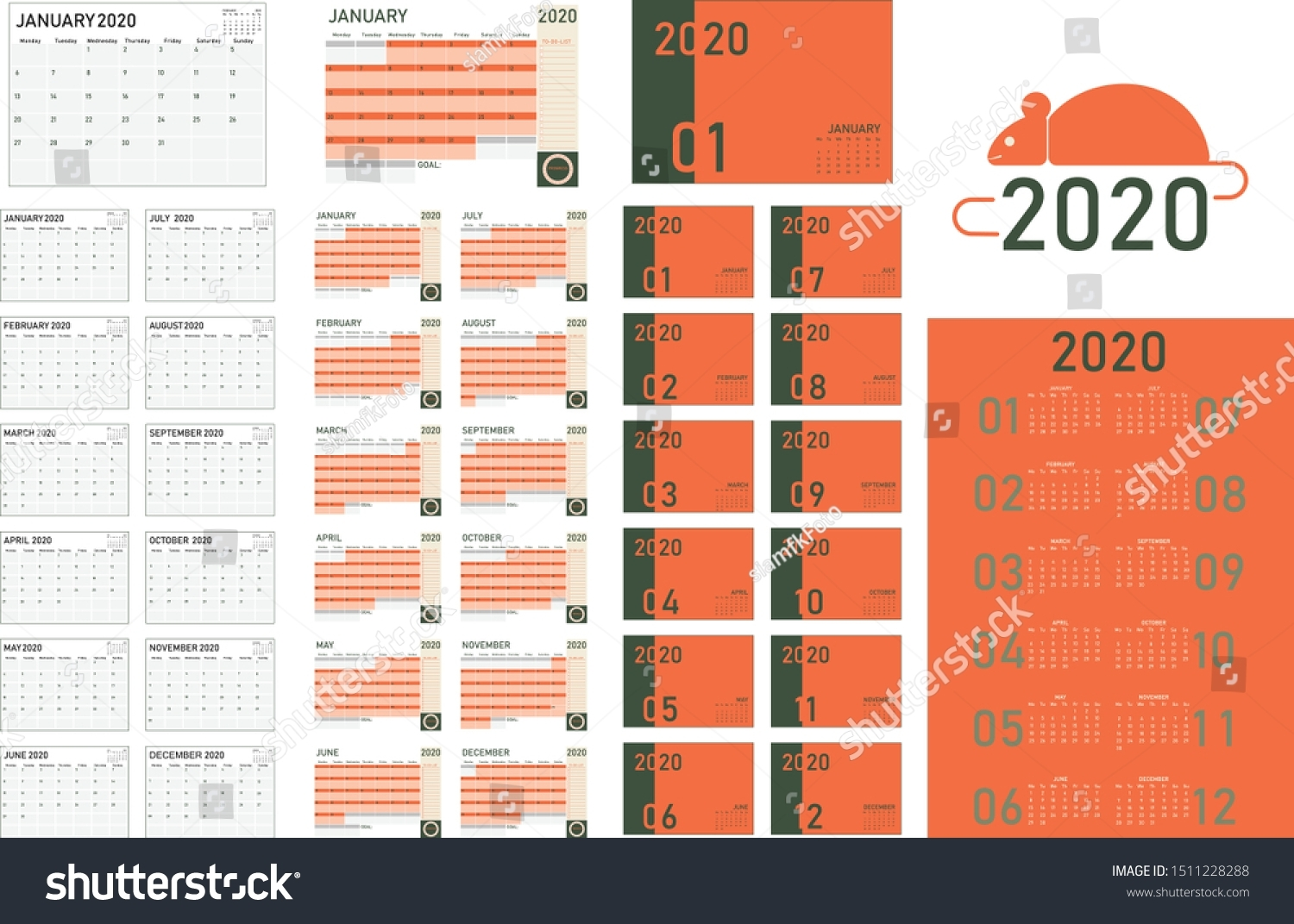 2020 Calendar Template Planner Collection Guideline Stock