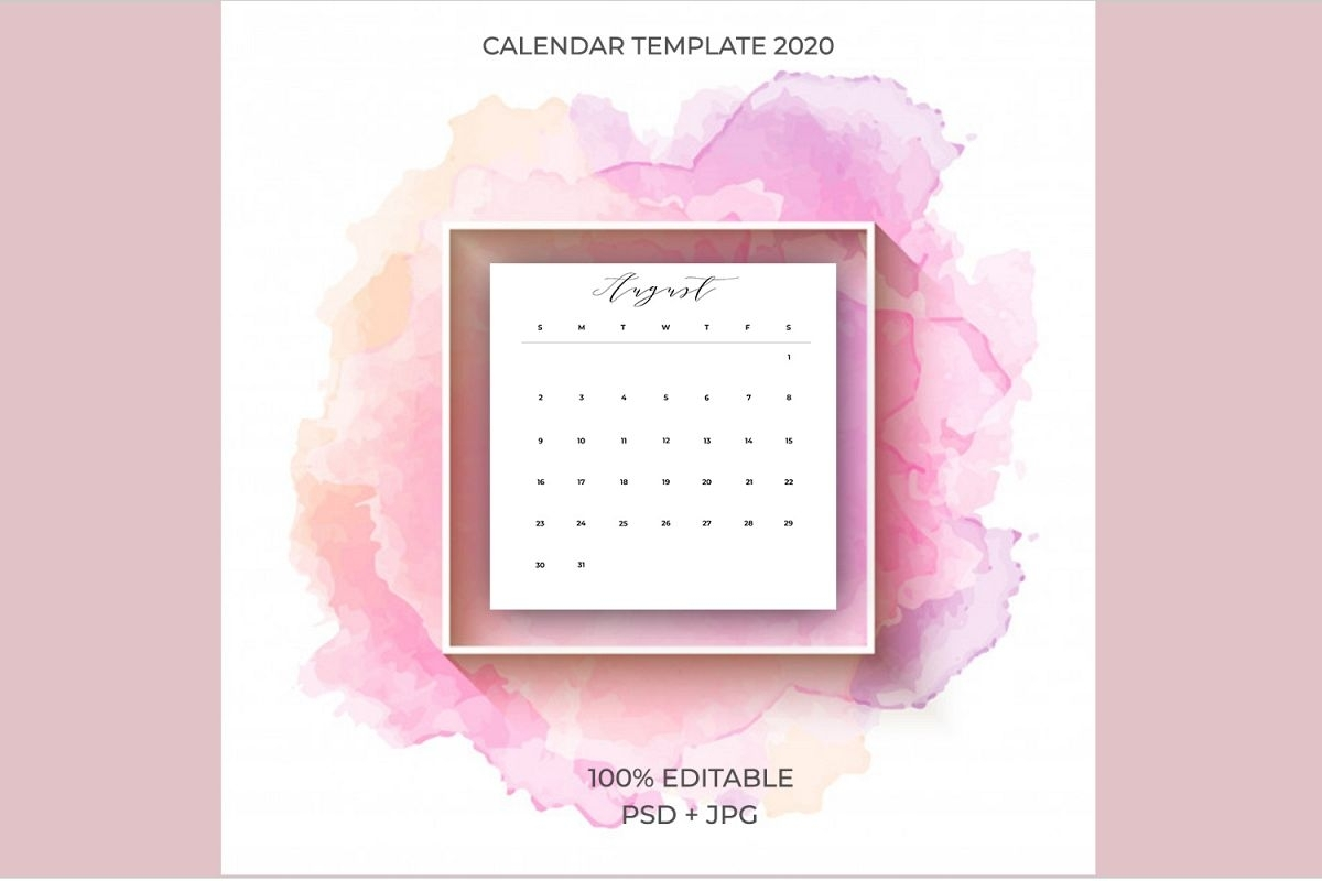 2020 Calendar Template Psd-Jpg-Pdf | Easy To Edit