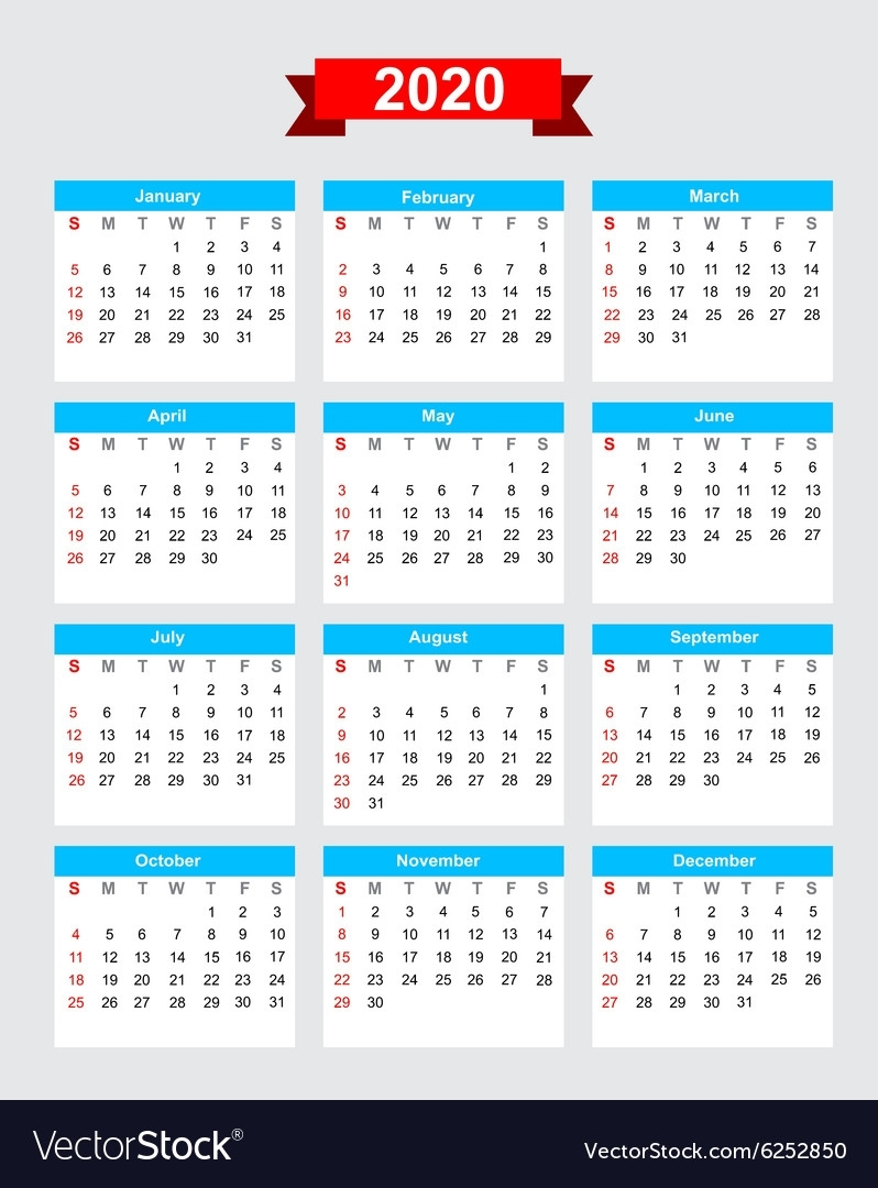 2020 Calendar Week Start Sunday