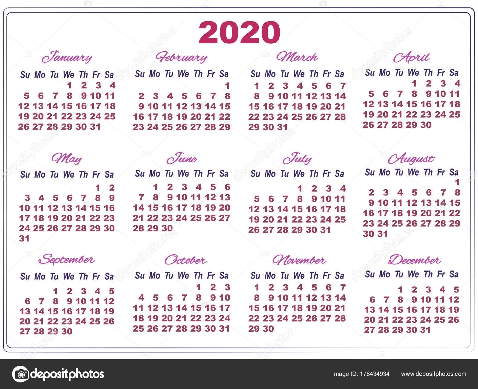 2020 Calendar With Big Numbers — Stock Vector © Sunfunjen