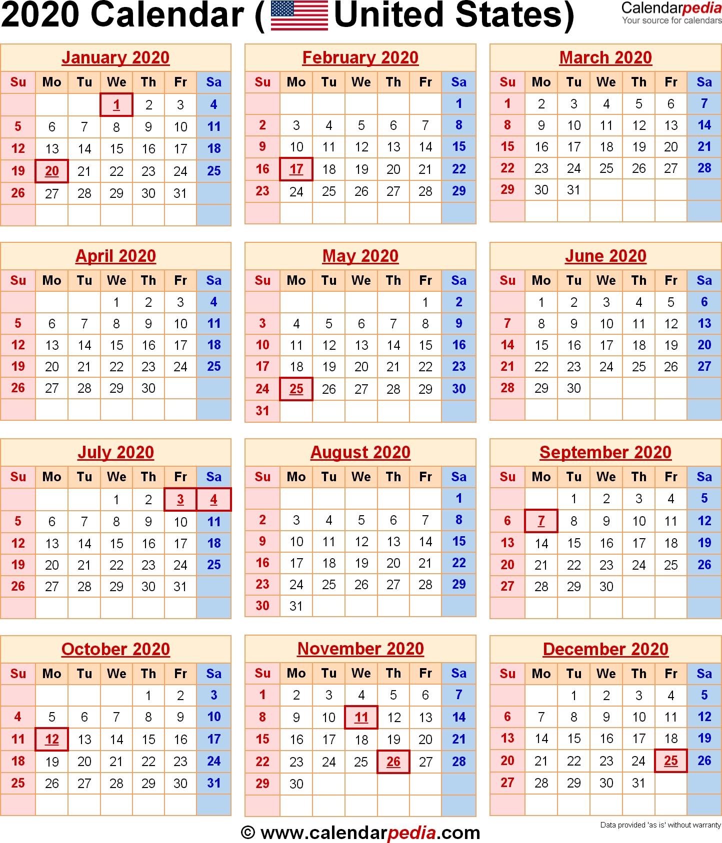 2020 Calendar With Federal Holidays