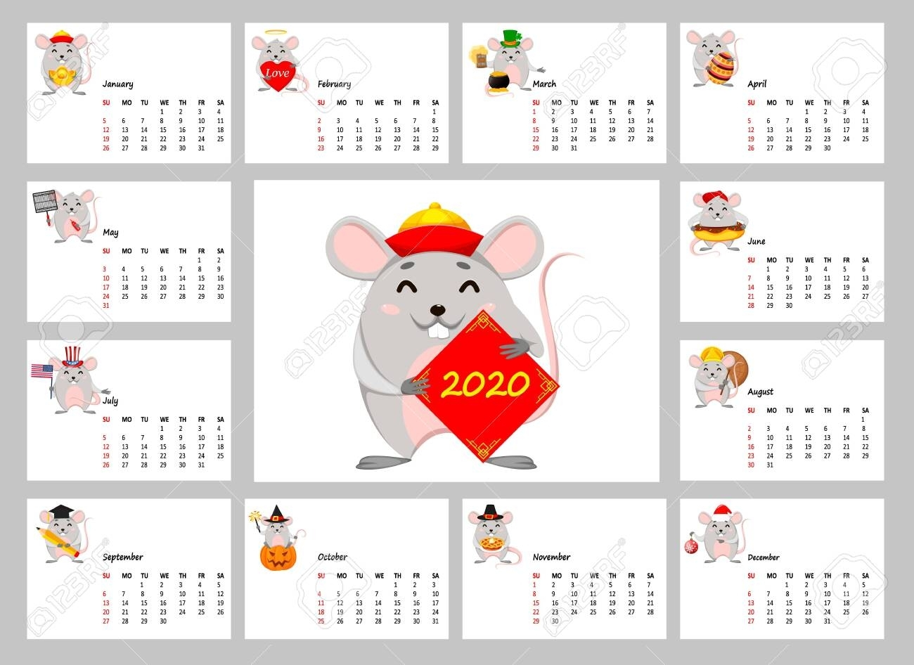 2020 Calendar With Funny Rats. Happy Chinese New Year Of Rat