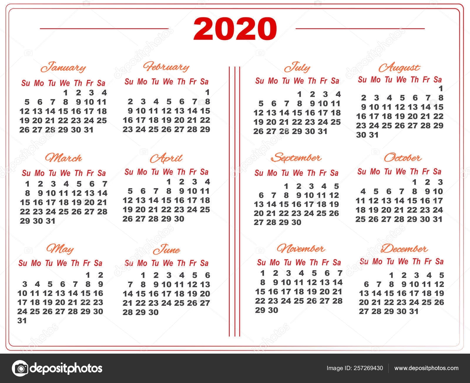 2020 Calendar With Red Numbers In Two Columns With