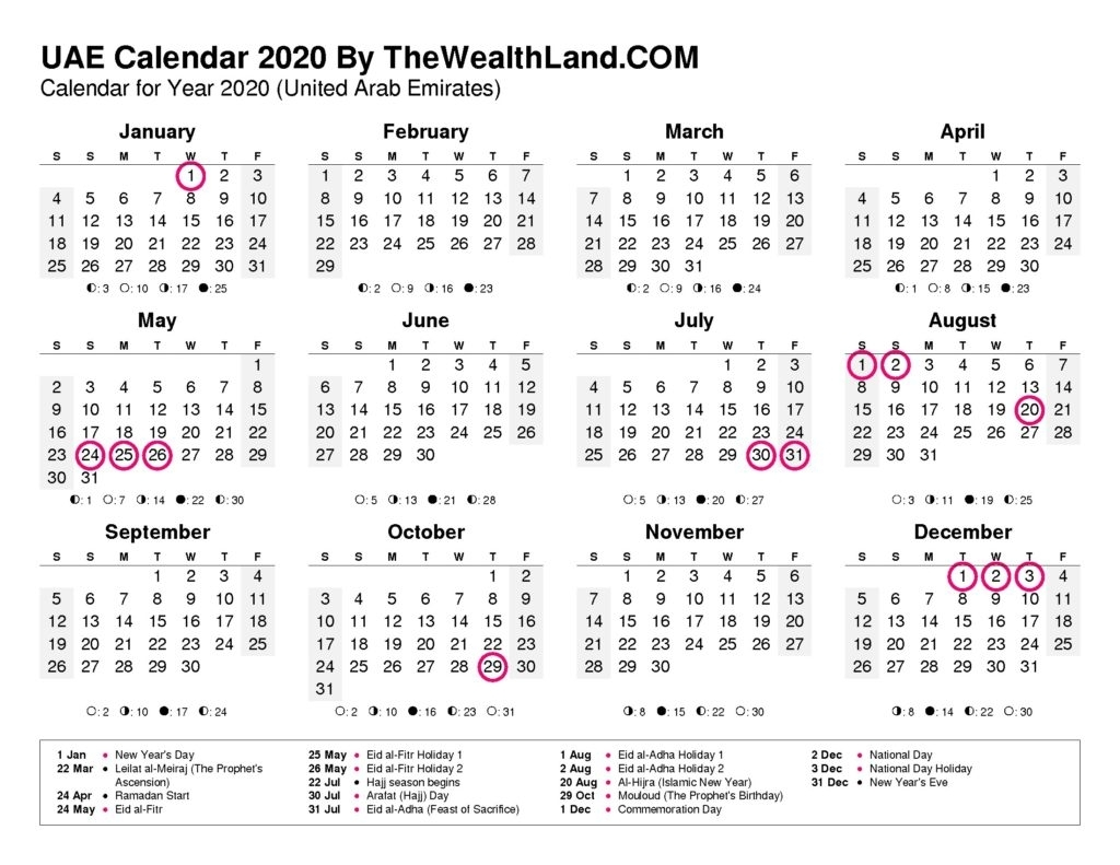 2020 Calendar With Uae Public Holidays - The Wealth Land
