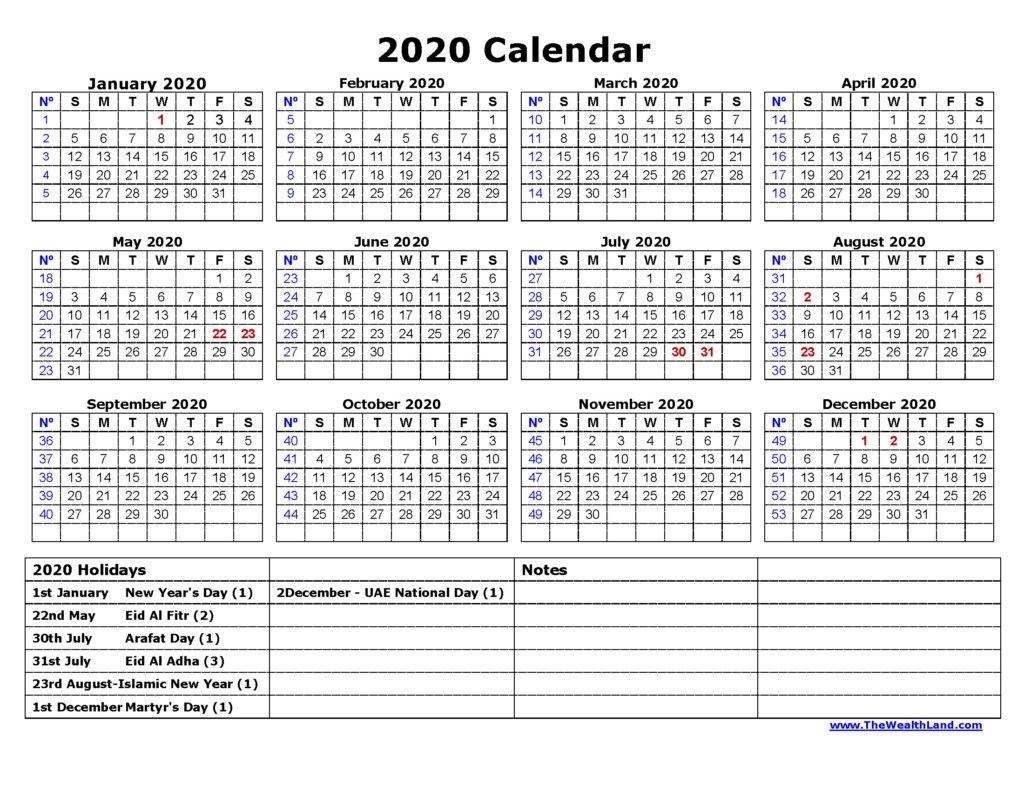 2020 Calendar With Uae Public Holidays - The Wealth Land