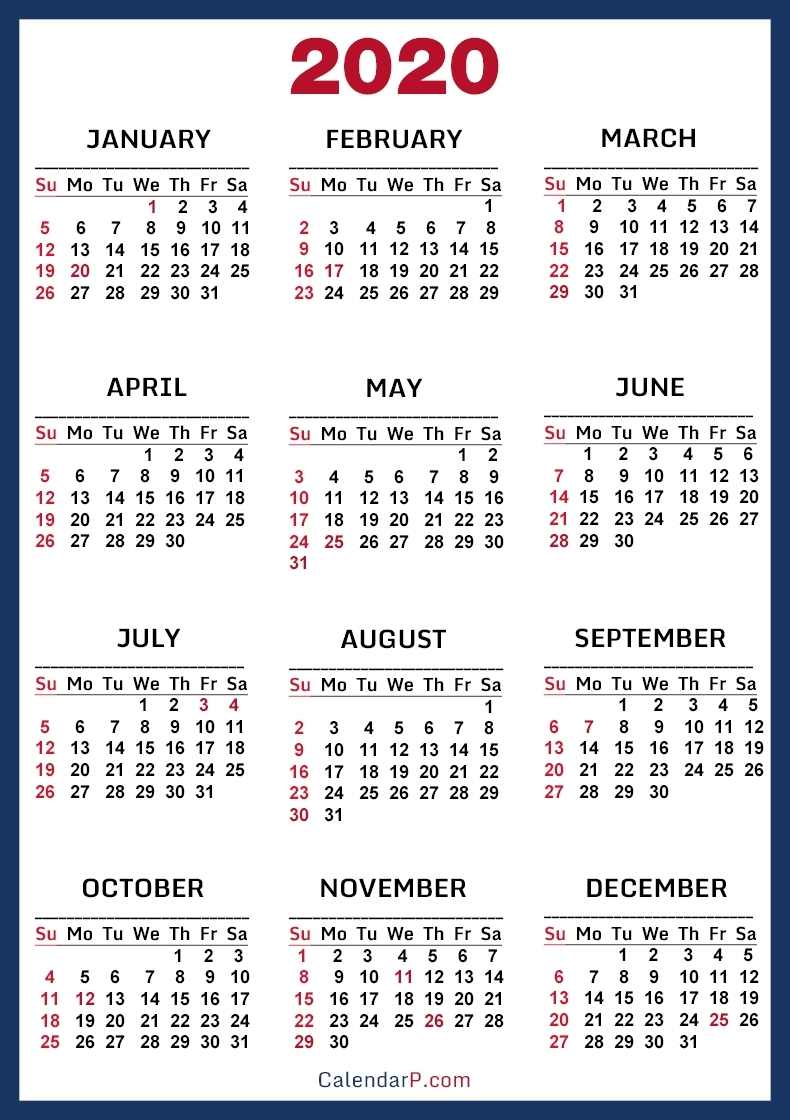 2020 Calendar With Us Holidays, Printable Free, Blue