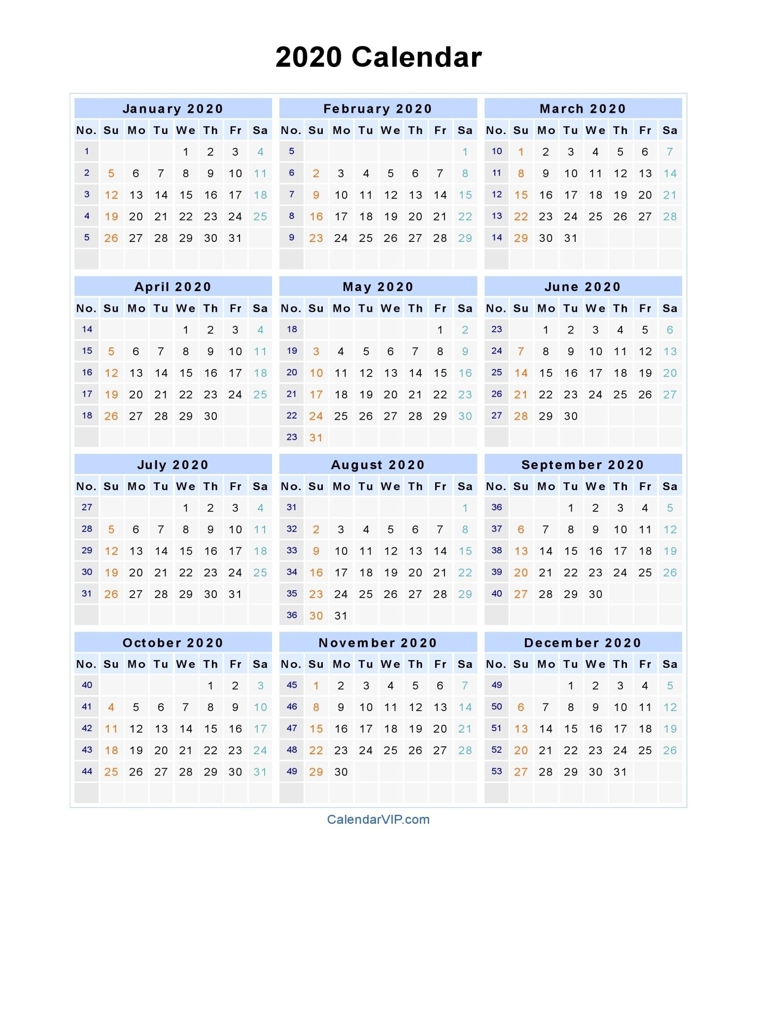 2020 Calendar With Week Numbers Excel - Cerno.mioduchowski