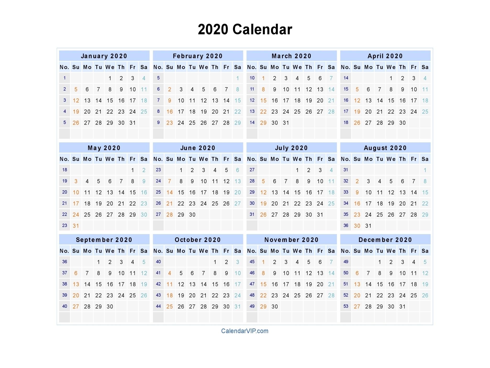 2020 Calendar With Week Numbers   Free Printable Calendar