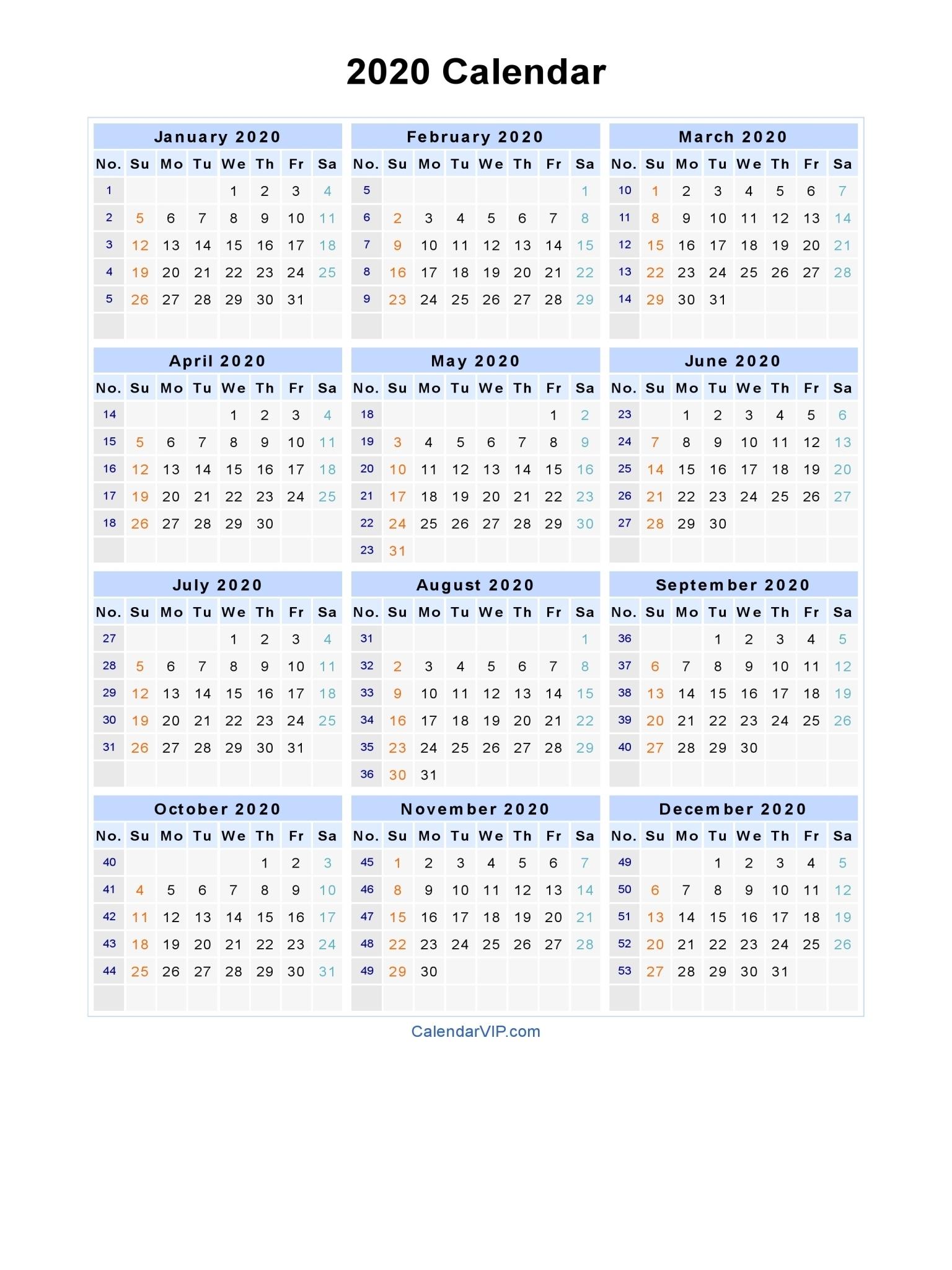 2020 Calendar With Week Numbers | Free Printable Calendar