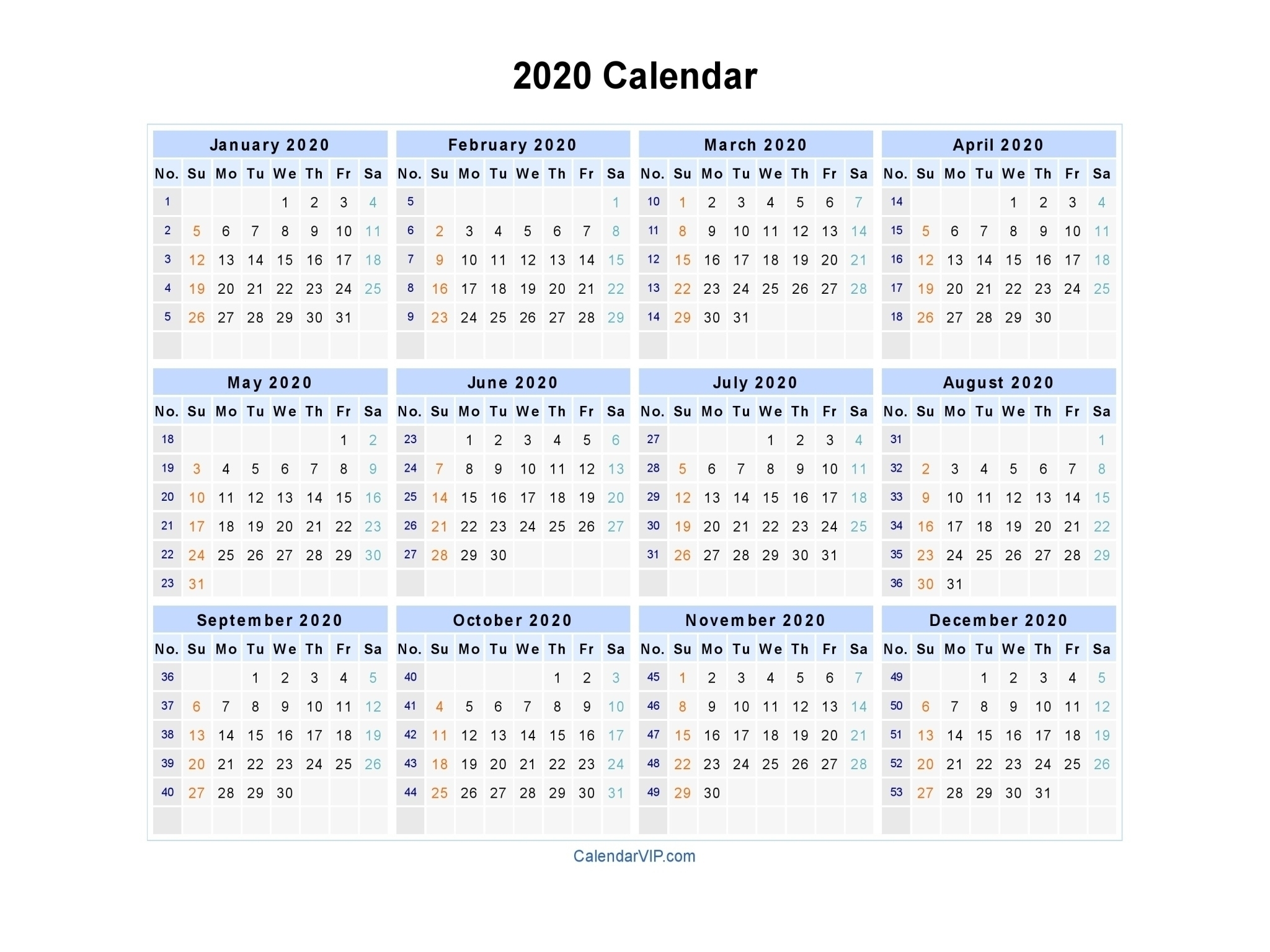 2020 Calendar With Week Numbers Printable | Month Yearly